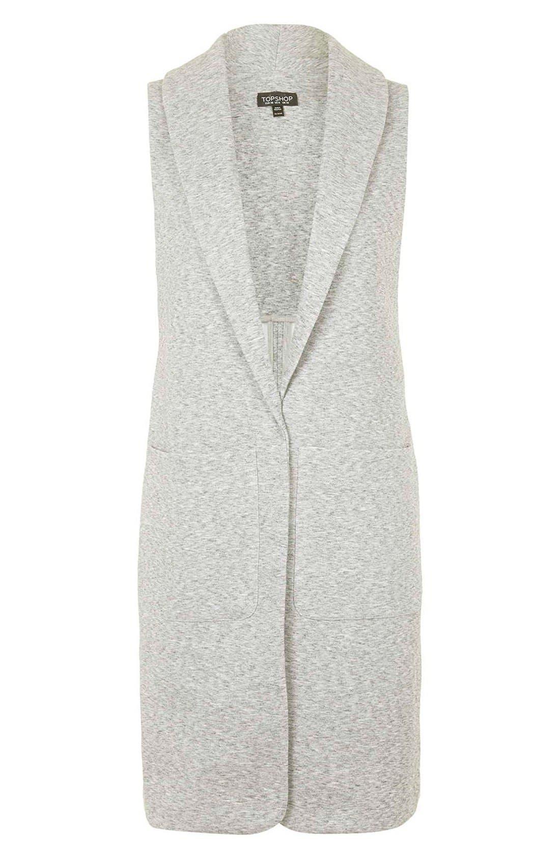 Marled Longline Vest,                             Alternate thumbnail 4, color,                             Light Grey