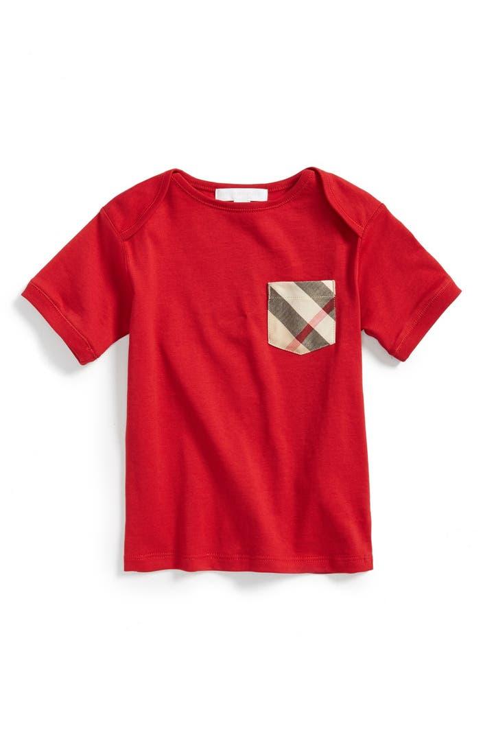 Burberry 39 callum 39 check pocket t shirt baby boys nordstrom for Boys pocket t shirt