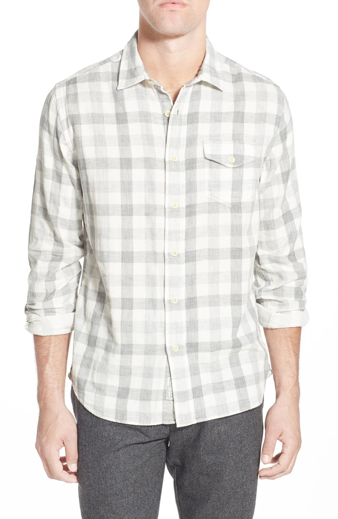 'Durham' Regular Fit Check Sport Shirt,                             Main thumbnail 1, color,                             Heather Grey Gingham