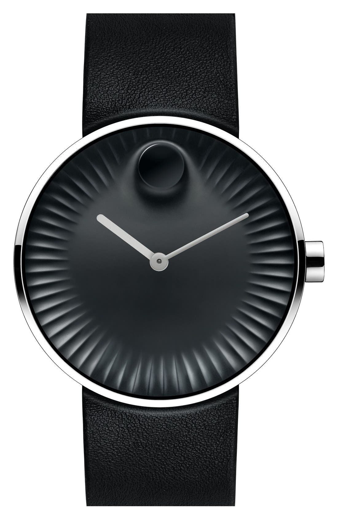 Alternate Image 1 Selected - Movado 'Edge' Leather Strap Watch, 40mm