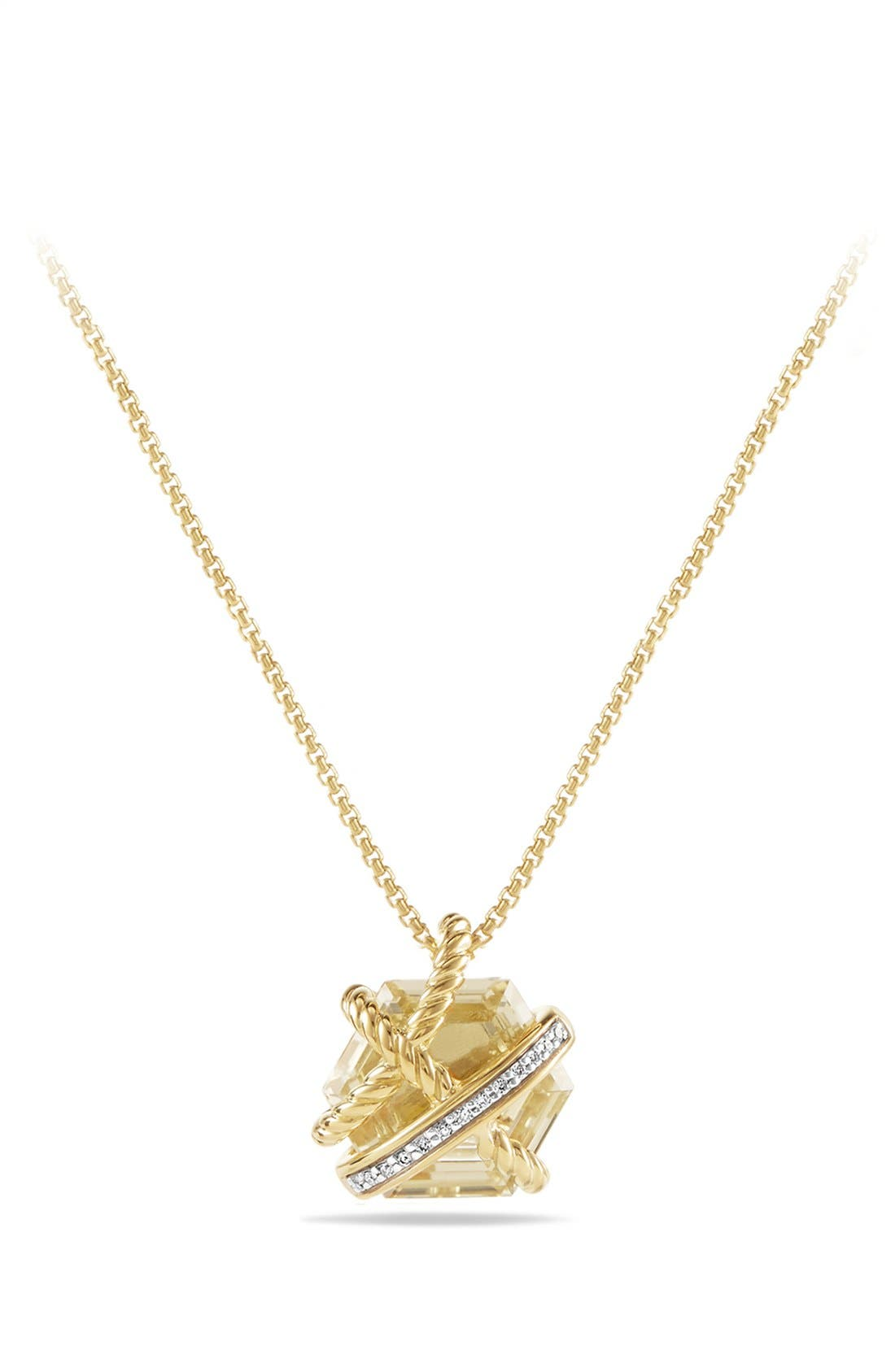 'Cable Wrap' Pendant Necklace with Semiprecious Stone and Diamonds,                         Main,                         color, Champagne Citrine