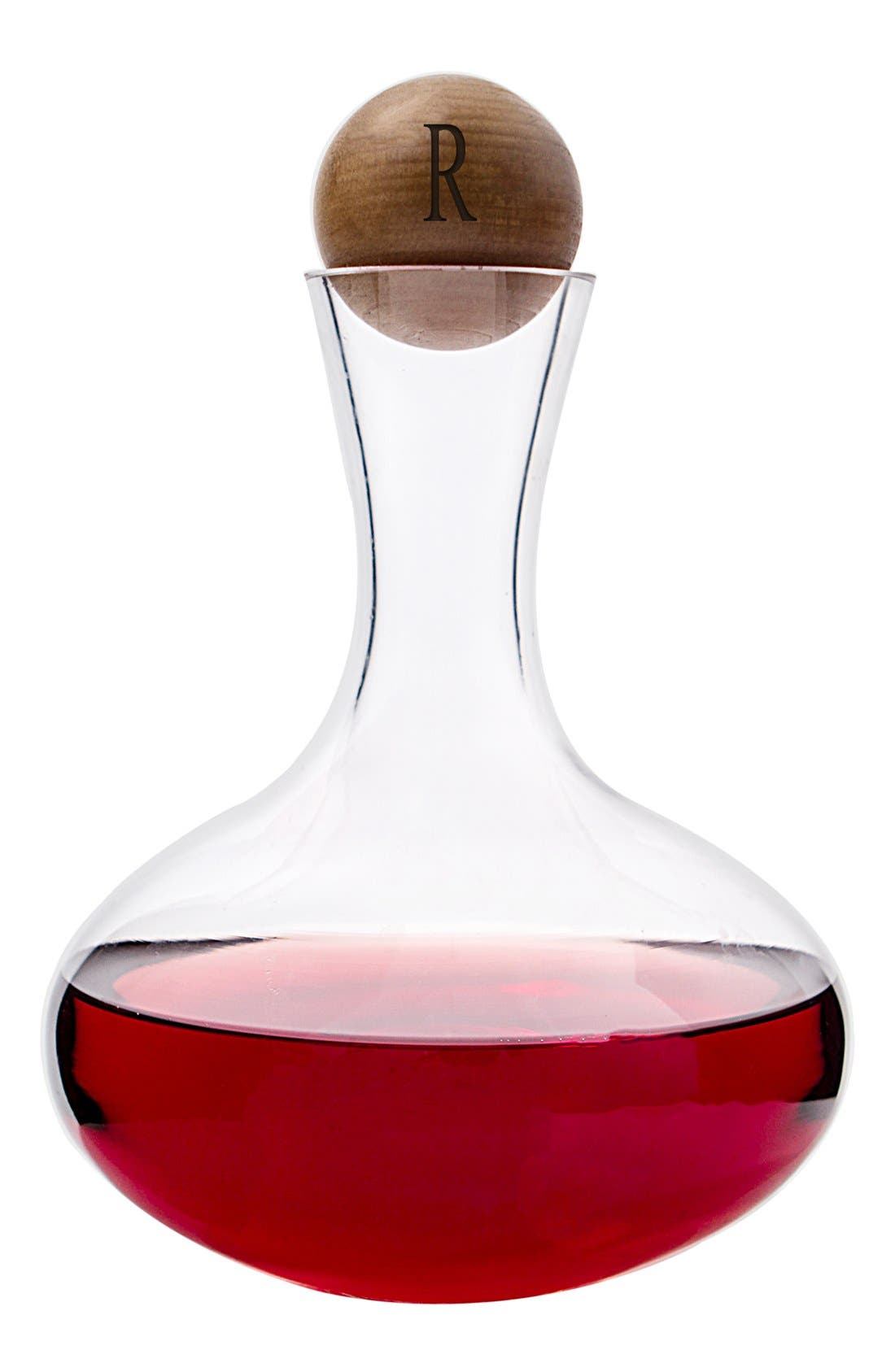 Alternate Image 3  - Cathy's Concepts Monogram Glass Wine Decanter & Wood Stopper