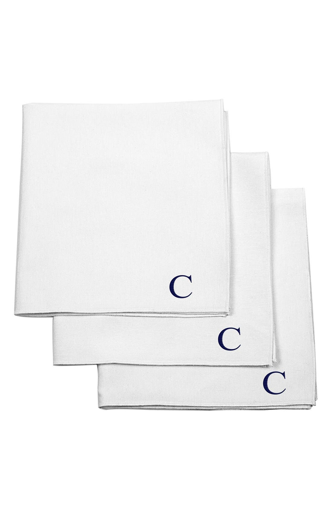 Set of 3 Monogram Cotton Pocket Squares,                             Main thumbnail 1, color,                             C