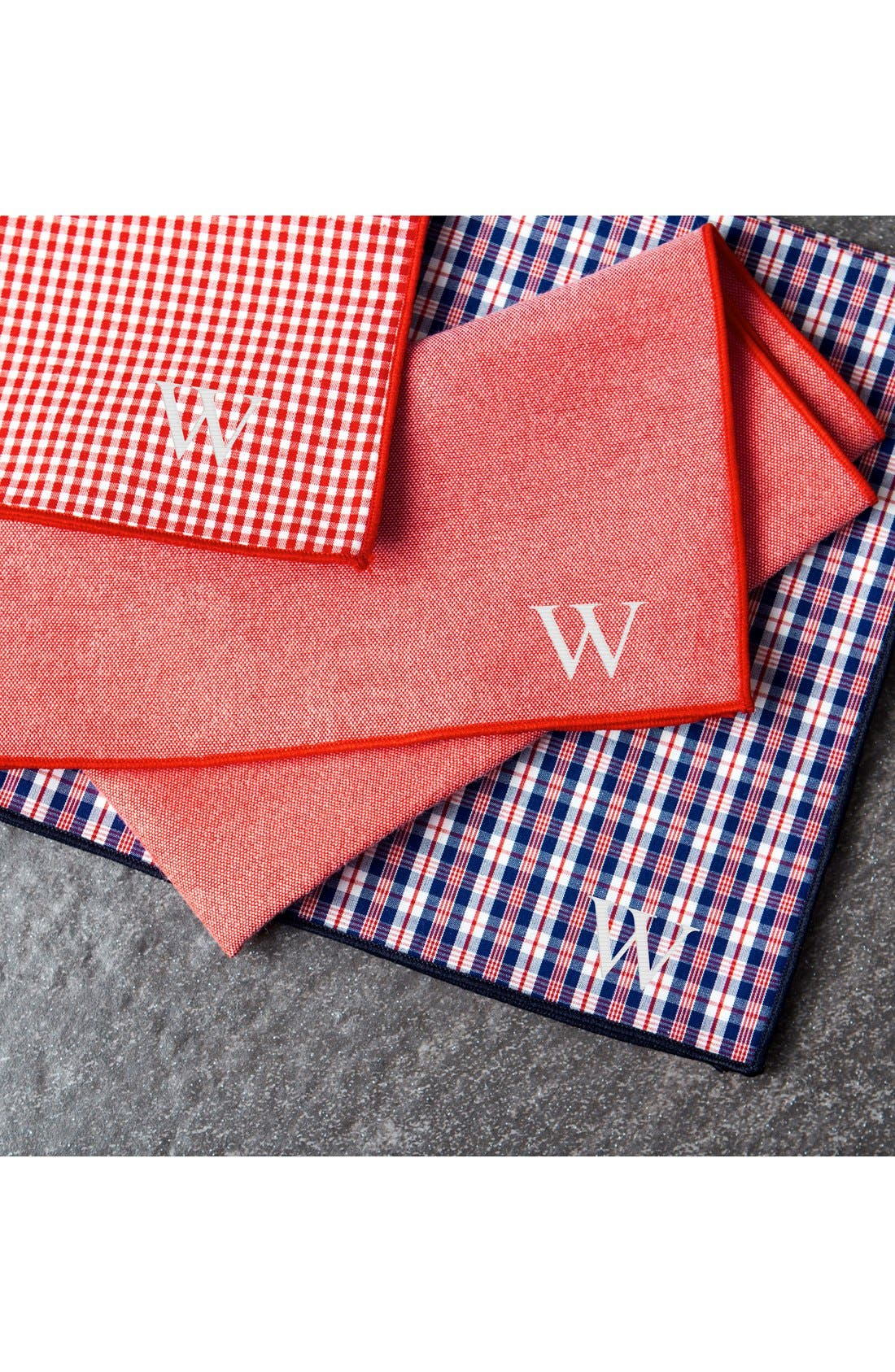 Set of 3 Monogram Pocket Squares,                             Alternate thumbnail 3, color,