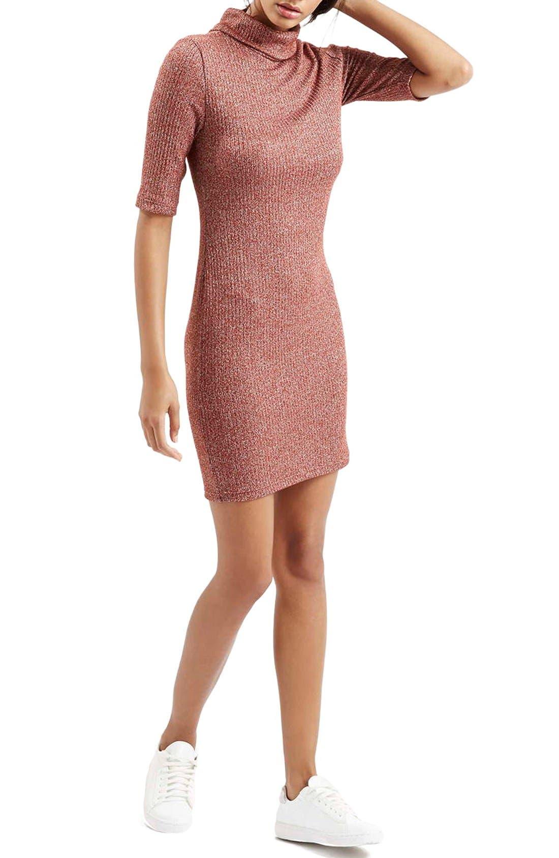 Alternate Image 2  - Topshop Ribbed Turtleneck Dress