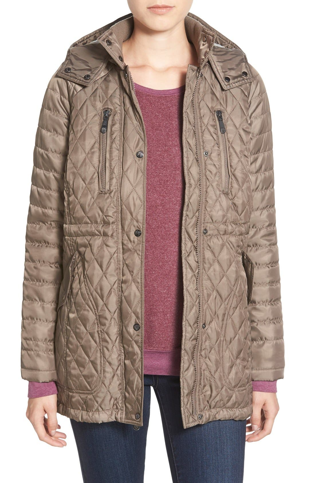 Vince Camuto Detachable Hood Quilted Anorak
