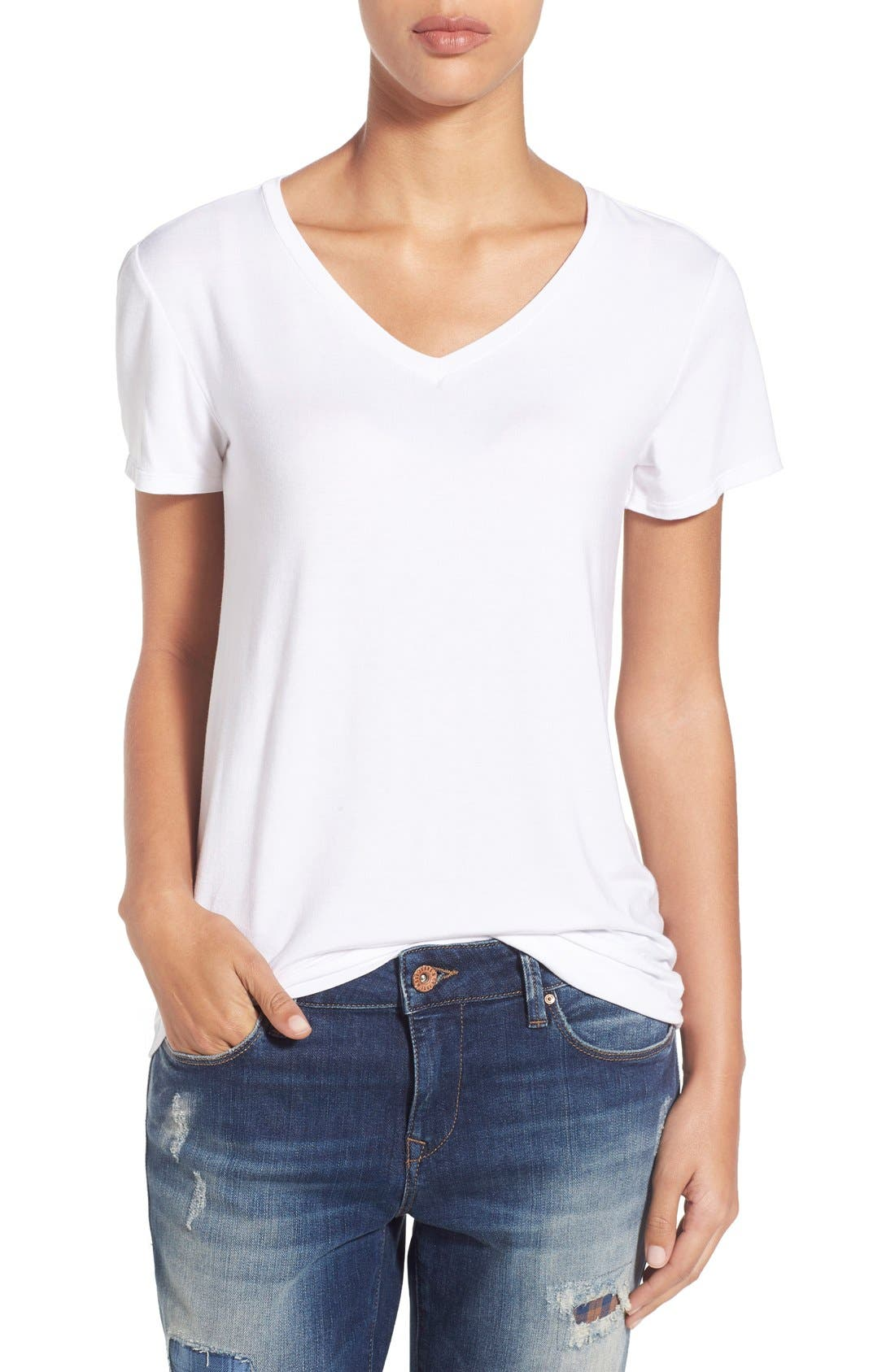 Modal Jersey V-Neck Tee,                         Main,                         color, White