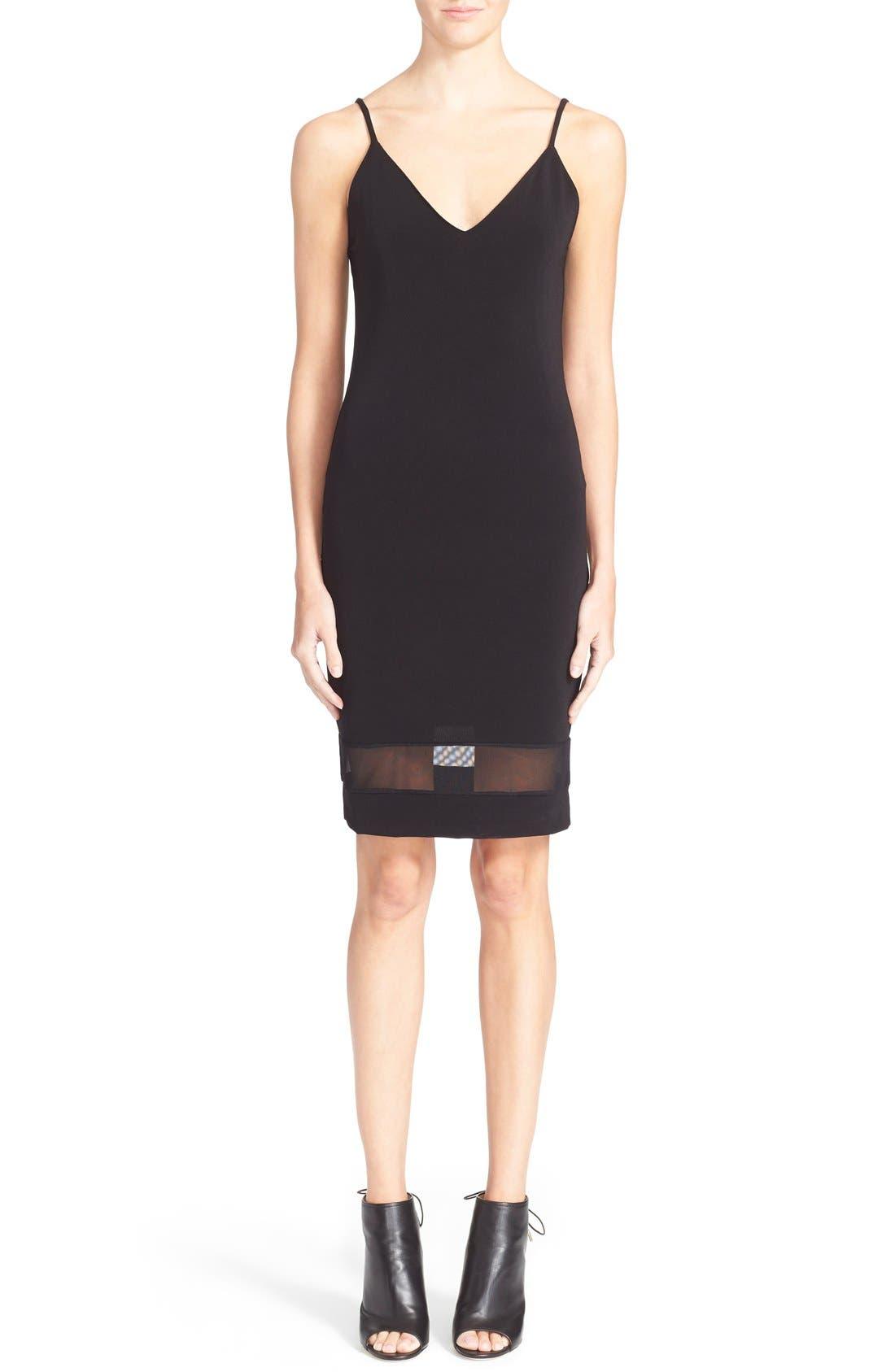 'Cate' Mesh Stripe V-Neck Slipdress,                         Main,                         color, Black