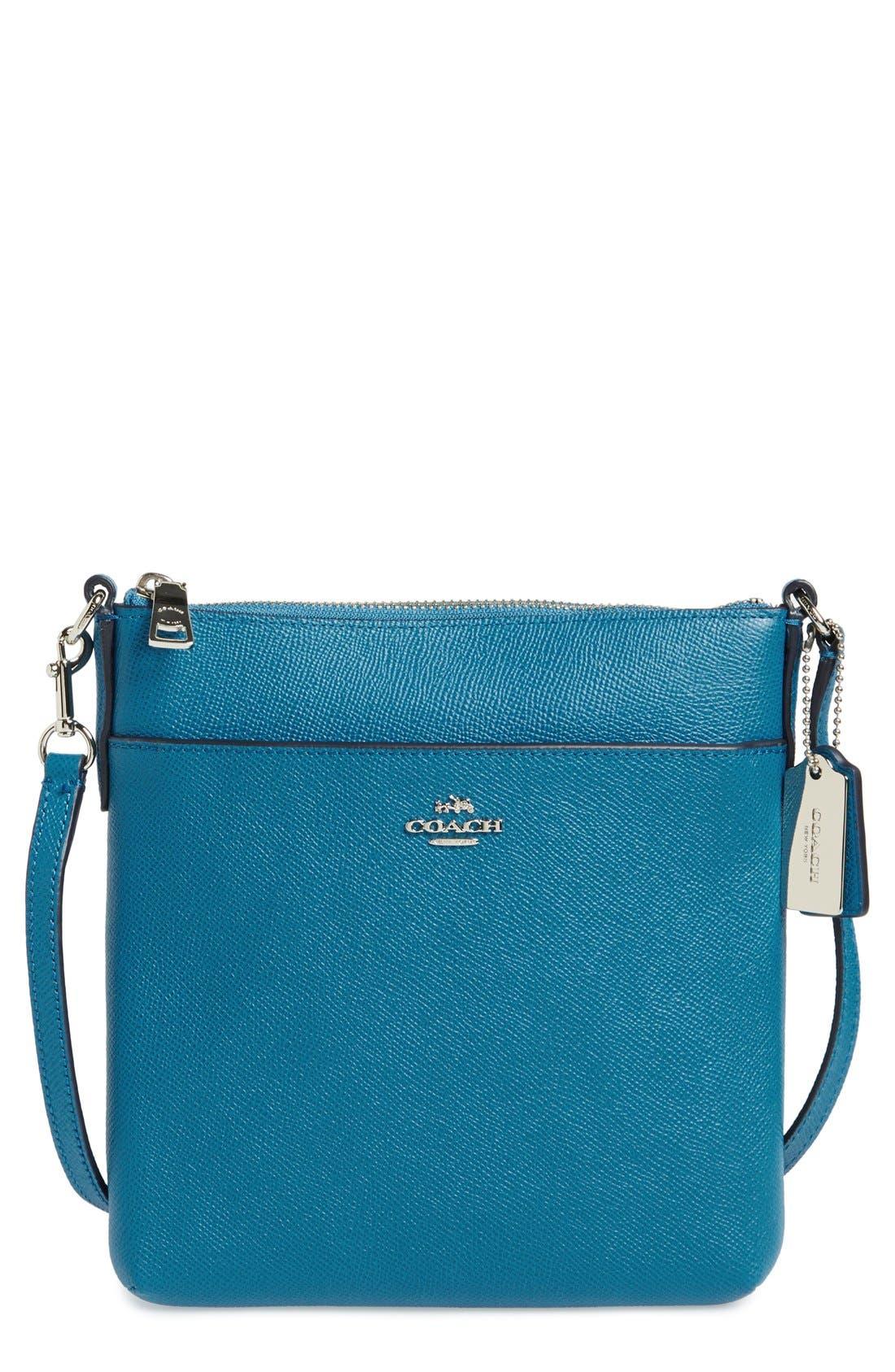 Leather Crossbody Bag,                         Main,                         color, Peacock