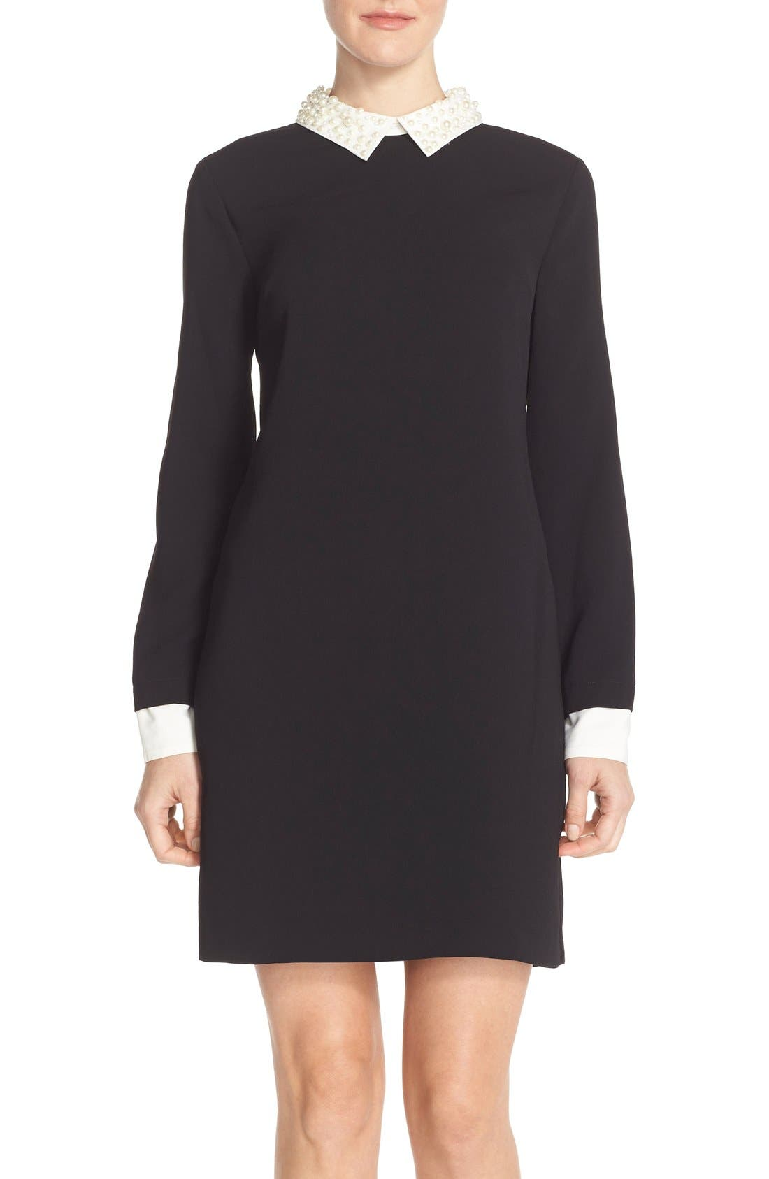 by Cynthia Steffe Pearl Collar Crepe Shift Dress,                         Main,                         color, Rich Black