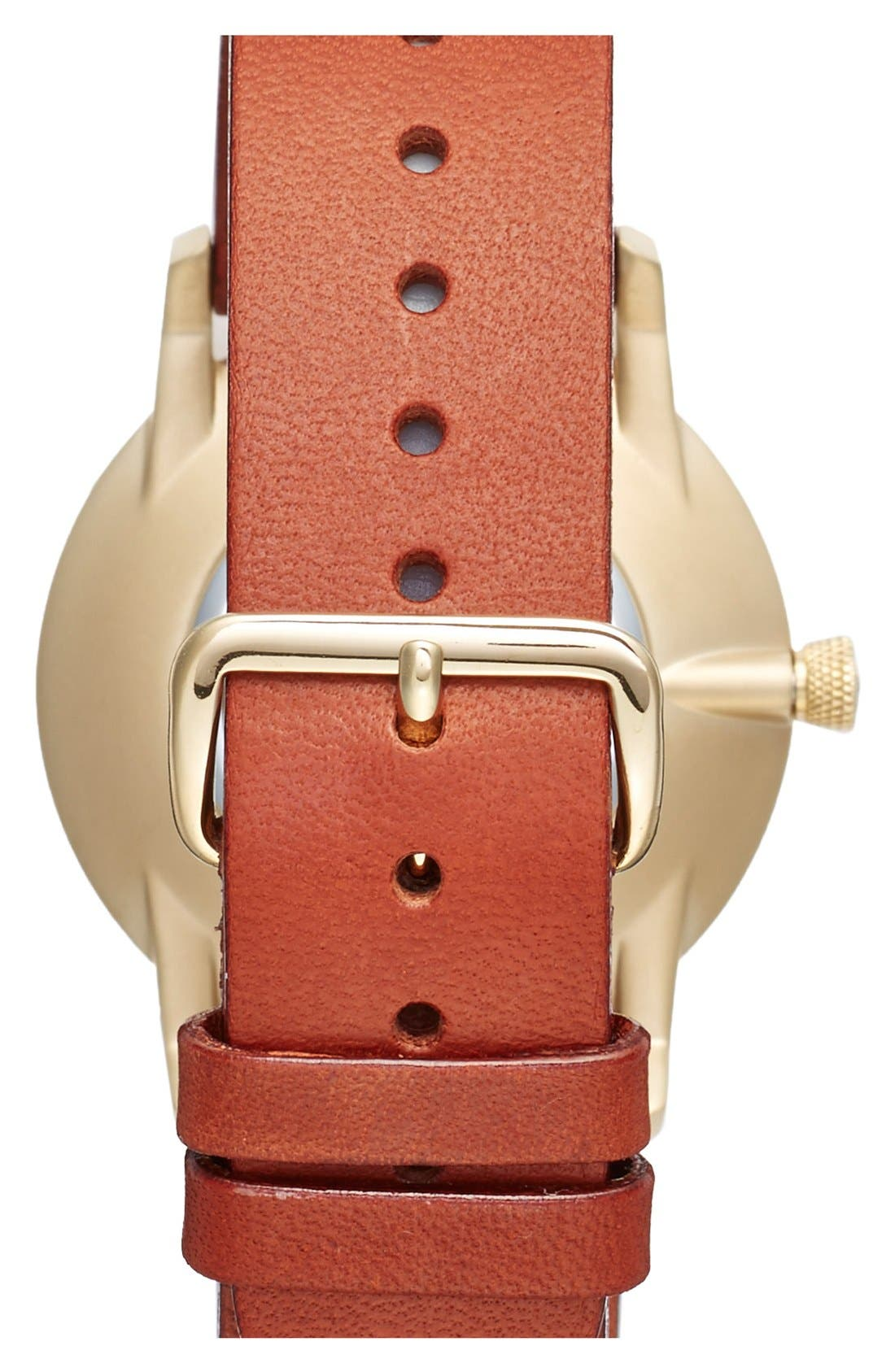 Klinga Organic Leather Strap Watch, 38mm,                             Alternate thumbnail 2, color,                             Cognac/ White