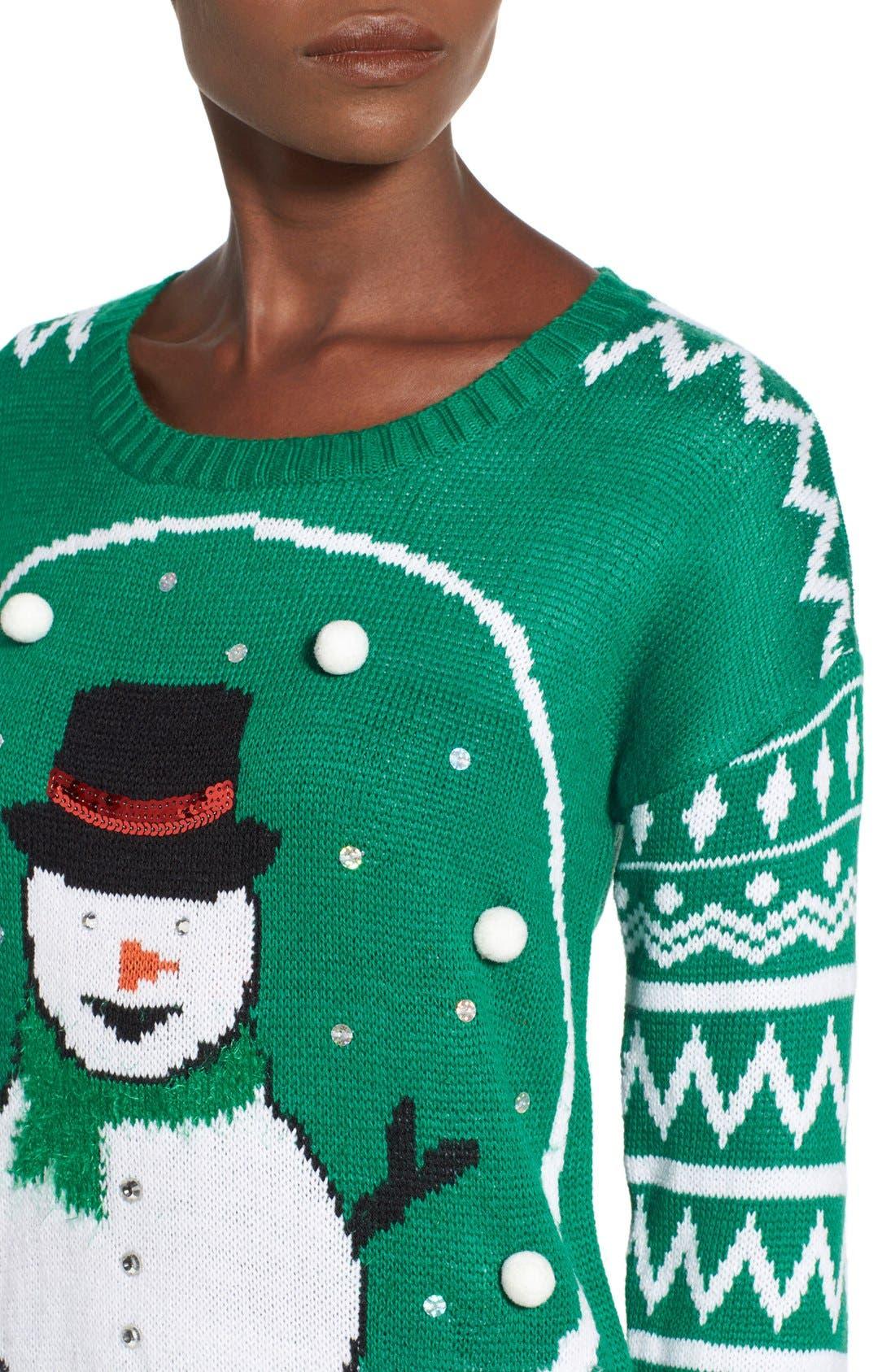 Alternate Image 4  - Derek Heart 'Snow Globe' Musical Christmas Sweater
