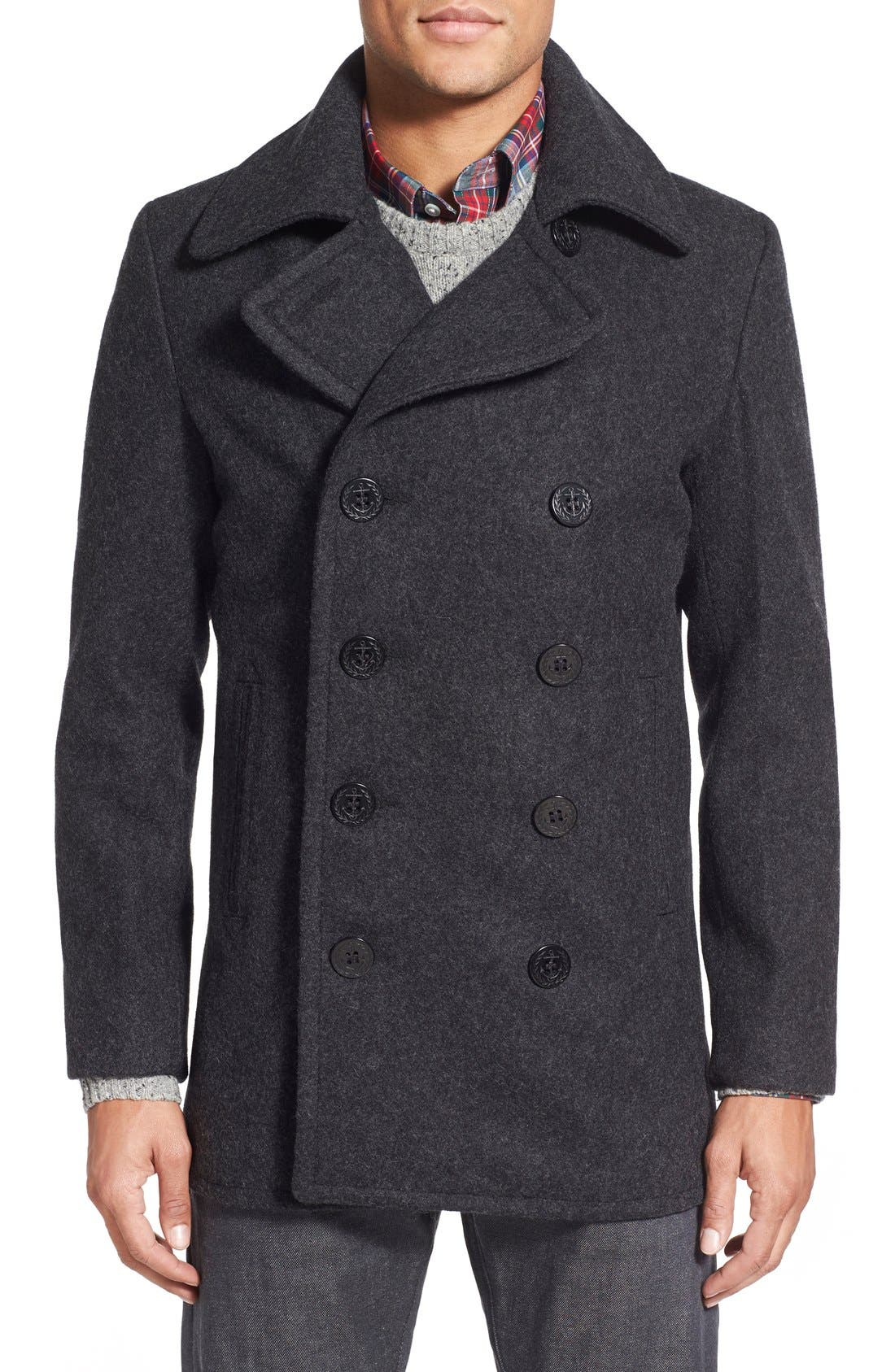 Schott NYC Slim Fit Wool Blend Peacoat