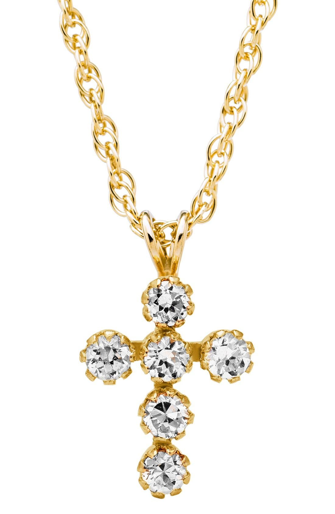 14k Gold & Cubic Zirconia Cross Necklace,                             Alternate thumbnail 2, color,                             Gold