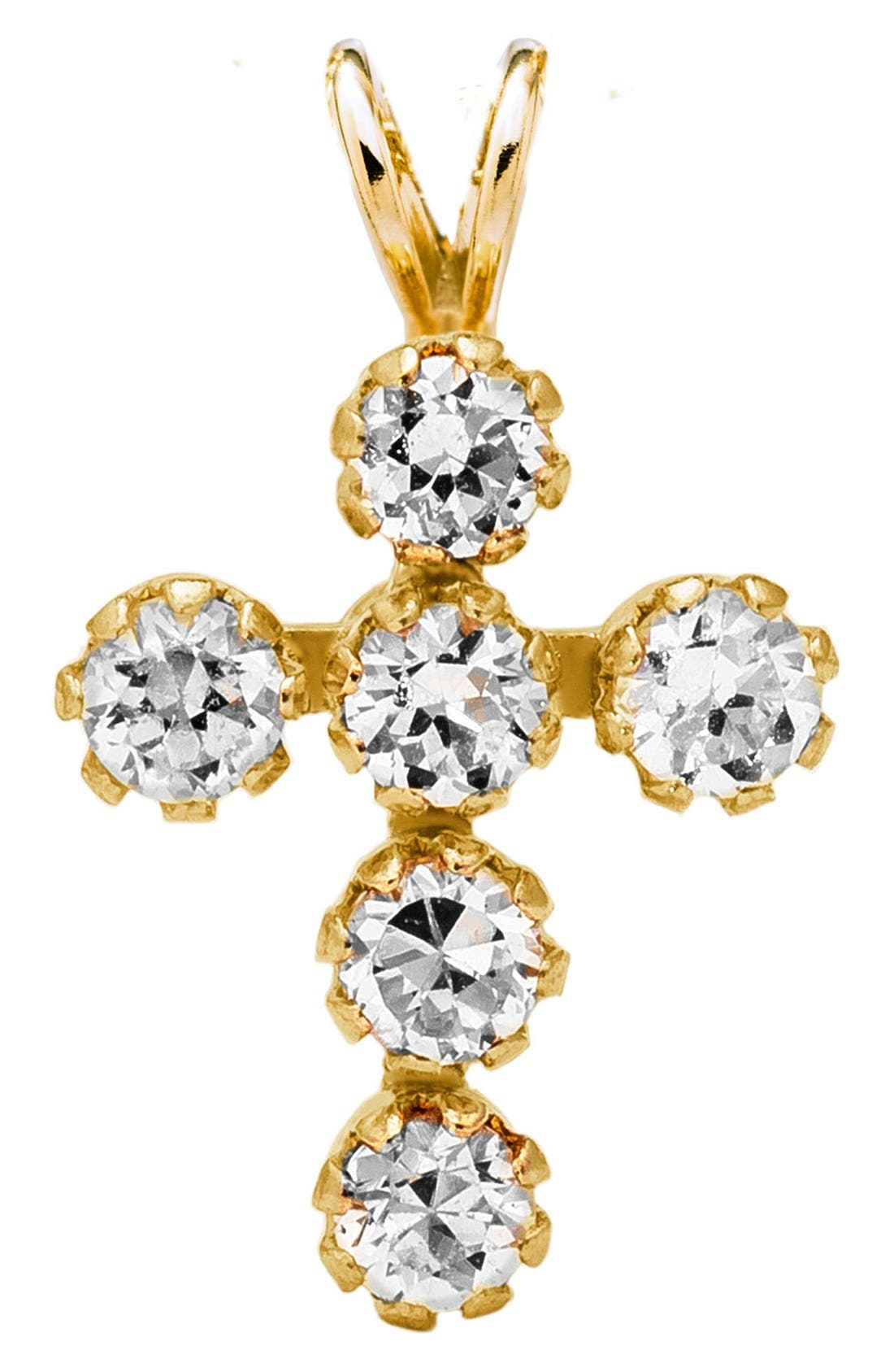 14k Gold & Cubic Zirconia Cross Necklace,                             Main thumbnail 1, color,                             Gold