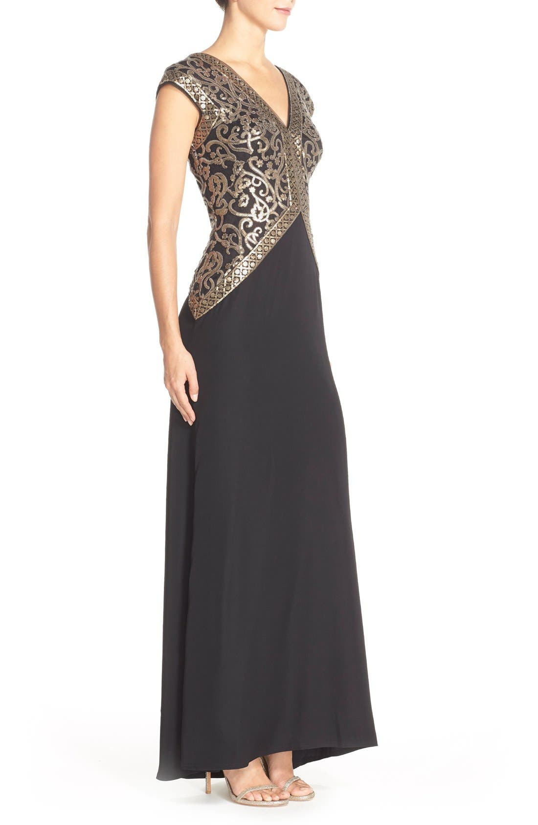 Sequin Embroidered Gown,                             Alternate thumbnail 3, color,                             Smoke Pearl/ Black