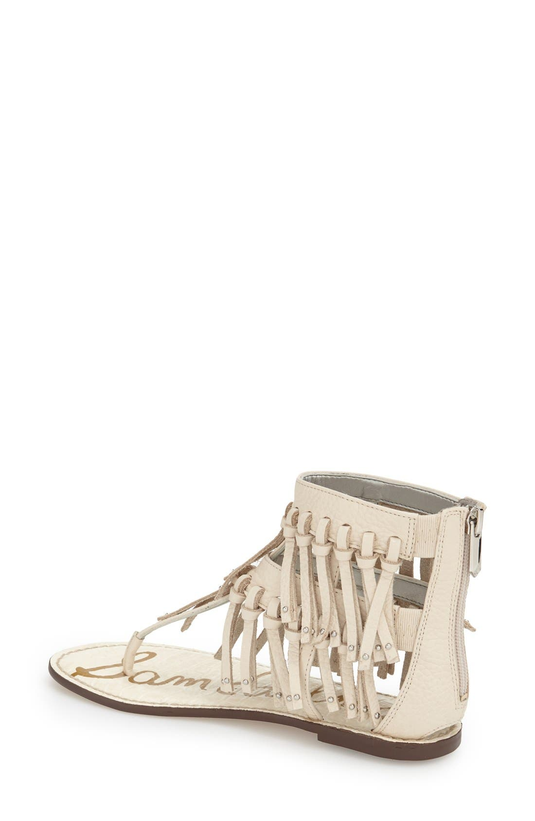 'Griffen' Fringe Sandal,                             Alternate thumbnail 2, color,                             Modern Ivory Leather