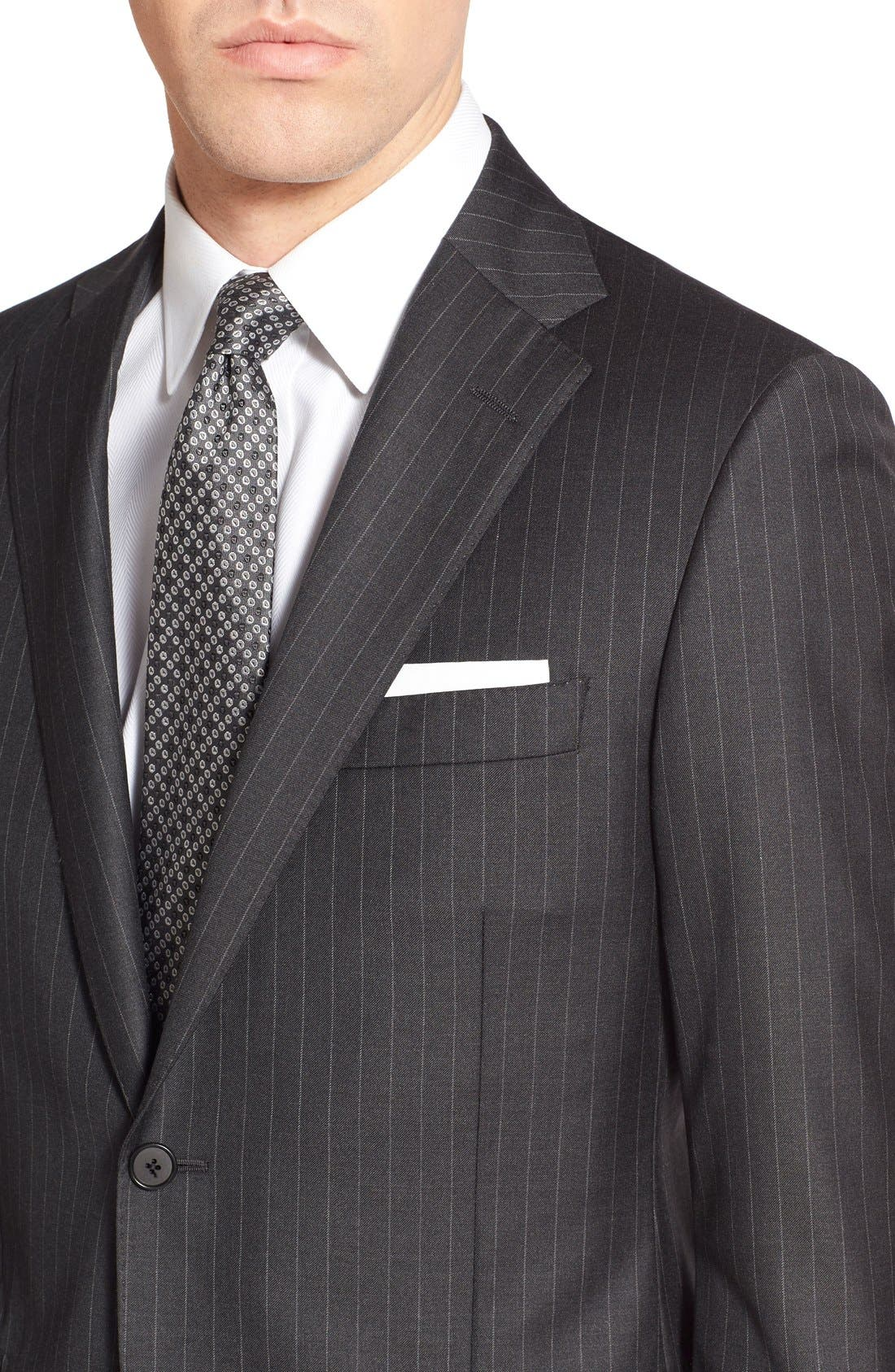 'Beacon - B Series' Classic Fit Stripe Wool Suit,                             Alternate thumbnail 5, color,                             Grey