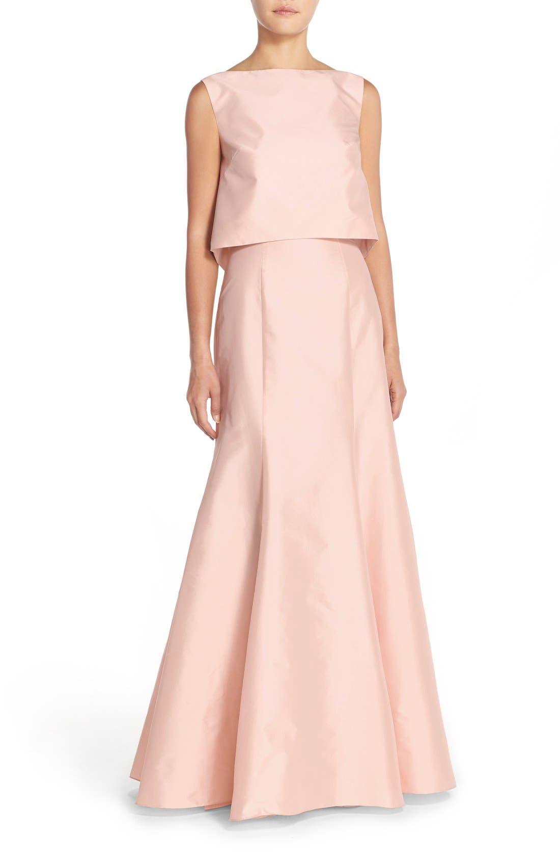 Floor Length Taffeta Mermaid Skirt,                             Alternate thumbnail 2, color,                             Blush