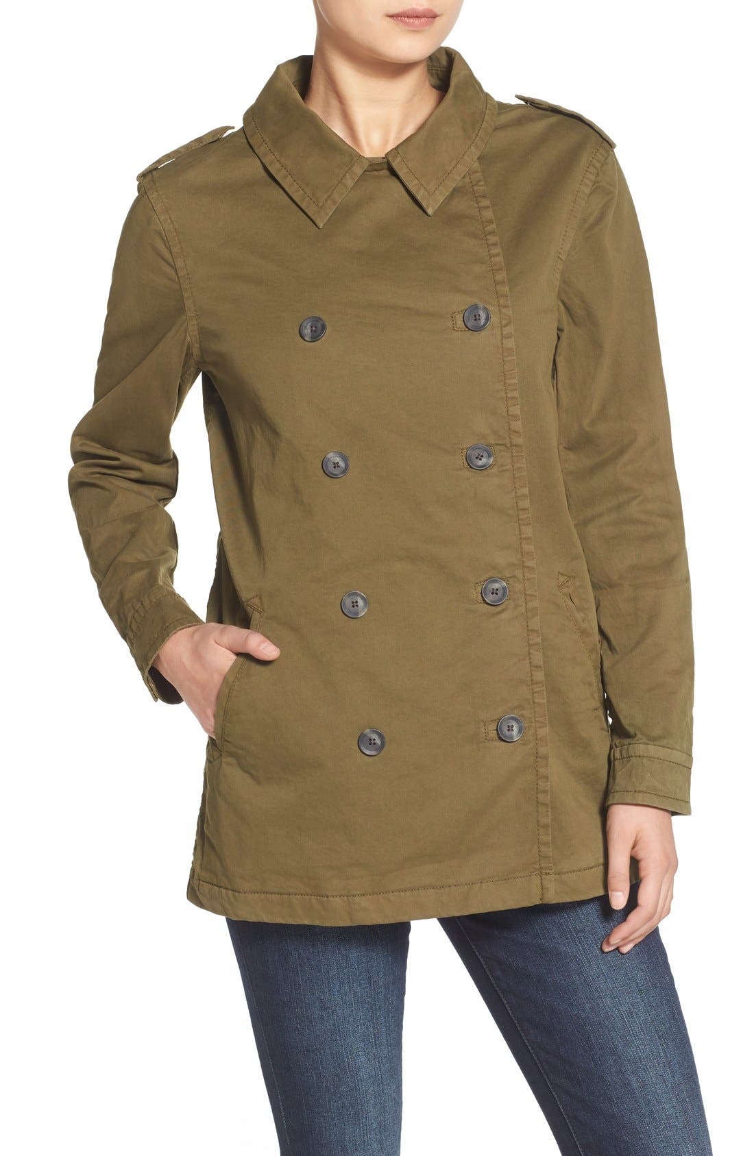 Alternate Image 5  - Treasure&Bond Stretch Cotton Twill Peacoat