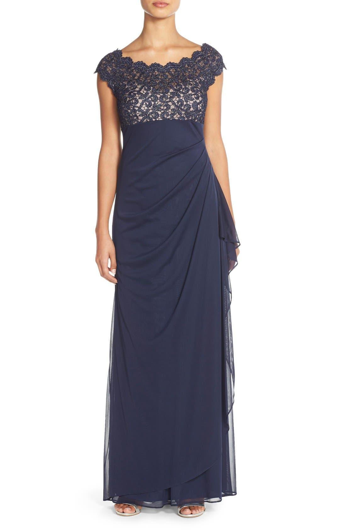 Xscape Metallic Lace & Jersey Gown (Regular & Petite)