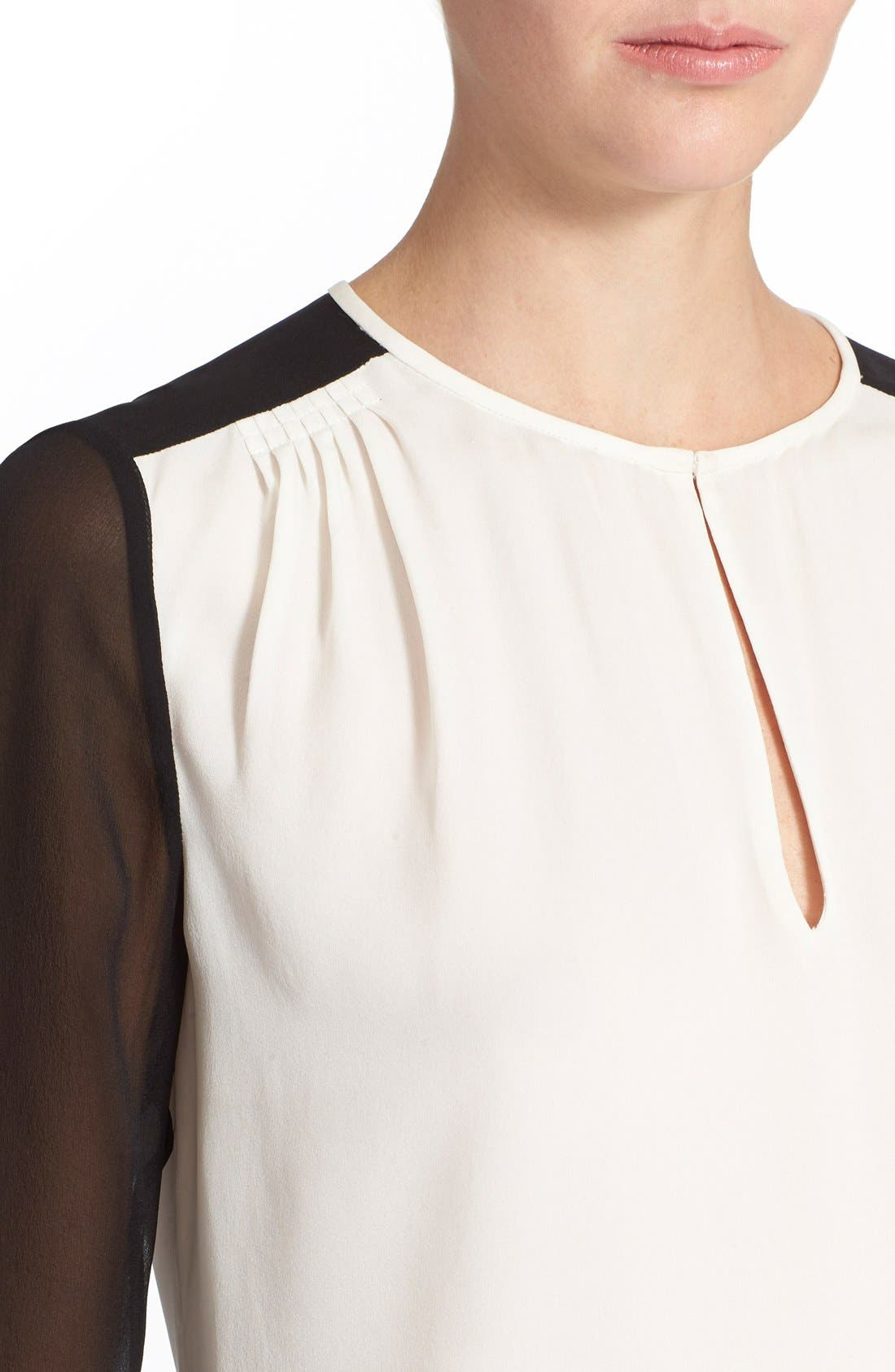 'Nikki' Silk Top,                             Alternate thumbnail 4, color,                             Ivory/ Black