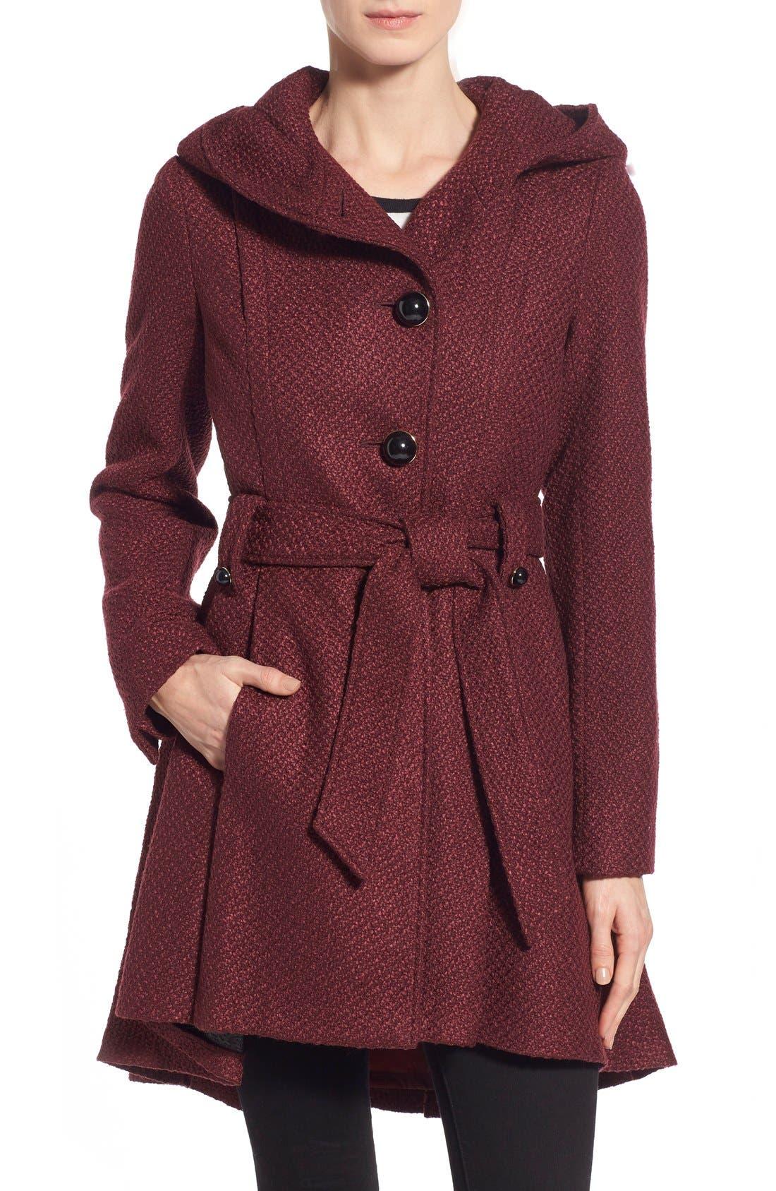Belted Hooded Skirted Coat,                         Main,                         color, Merlot