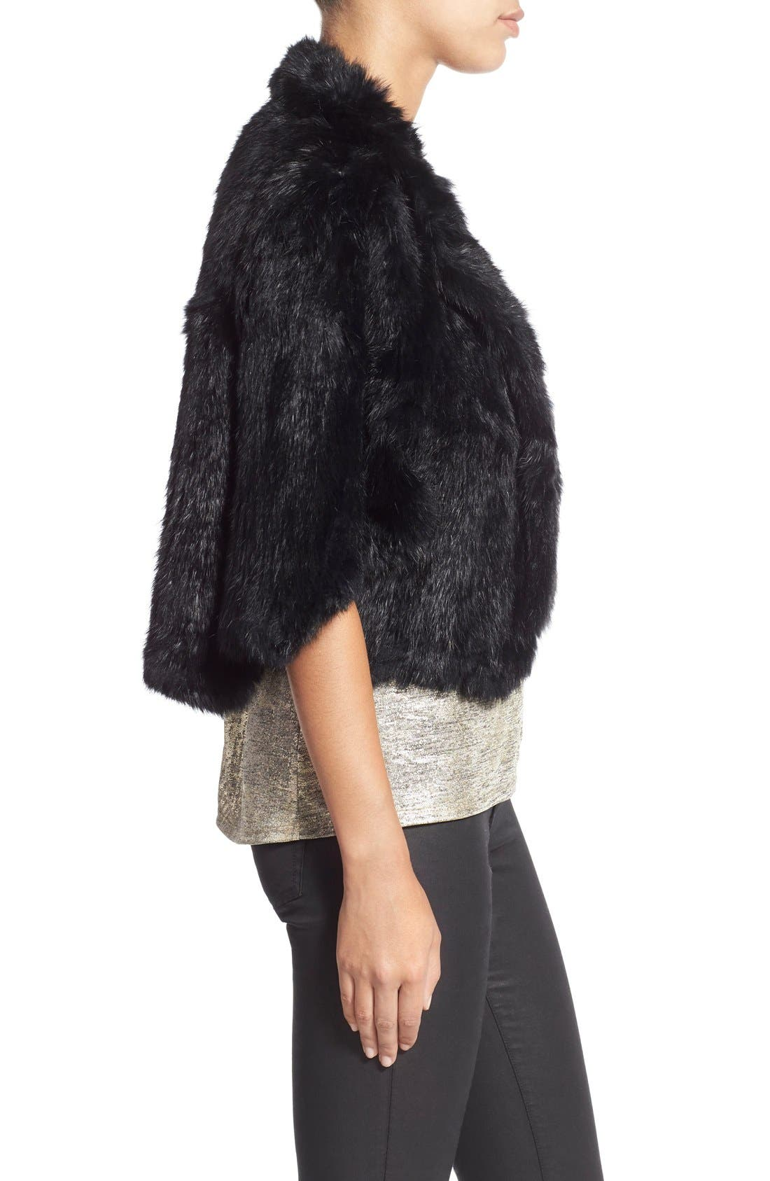 Genuine Rabbit Fur Capelet,                             Alternate thumbnail 4, color,                             Black