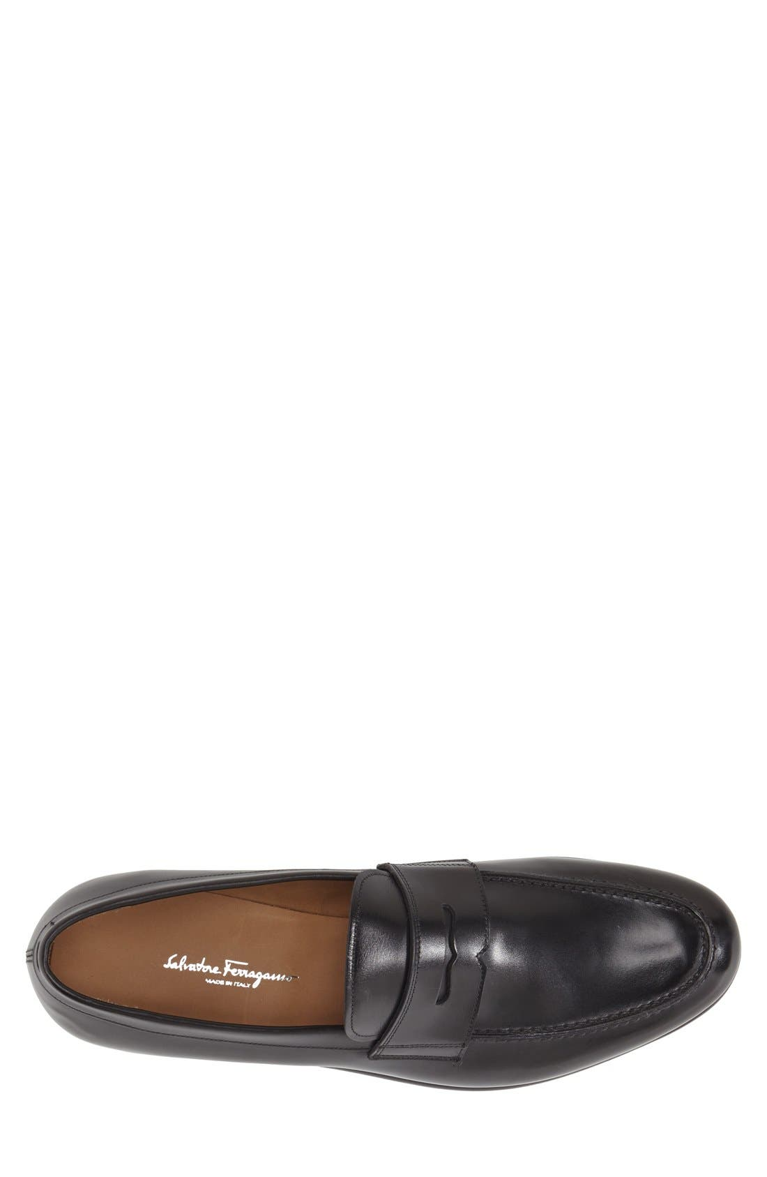 'Rinaldo' Penny Loafer,                             Alternate thumbnail 3, color,                             Nero Leather