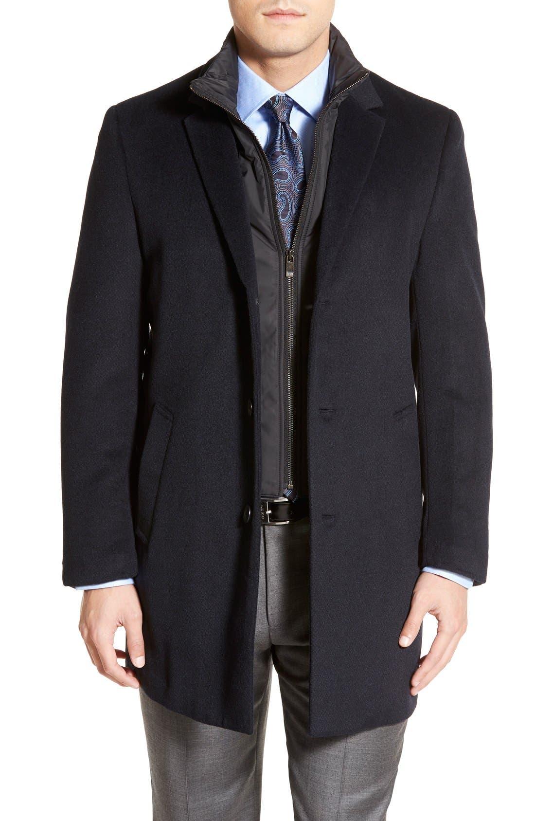 Kingman Modern Fit Wool Blend Coat with Removable Zipper Bib,                         Main,                         color, Navy/ Black