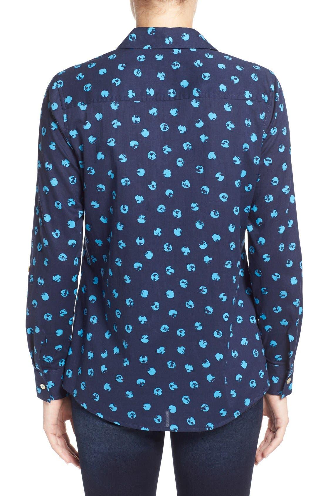 Alternate Image 2  - Foxcroft Distressed Dot Print Roll Sleeve Cotton Shirt (Regular & Petite)