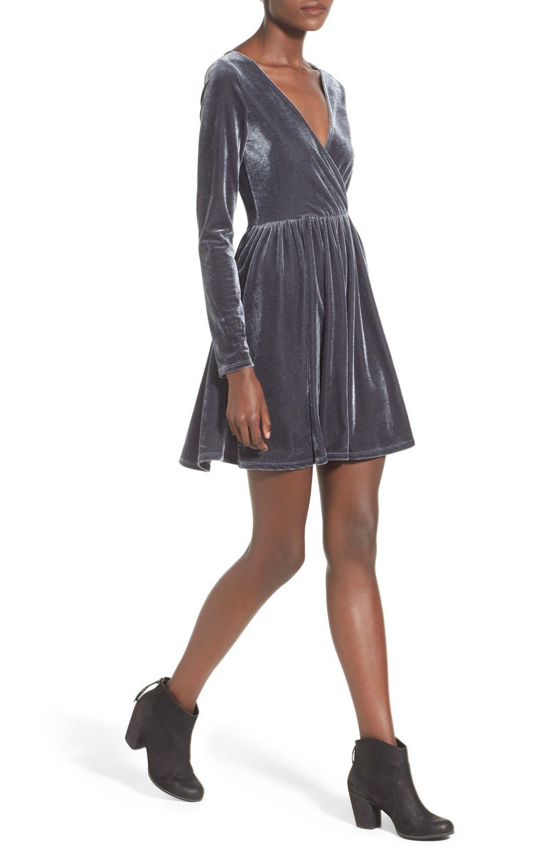 Alternate Image 4  - dee elle Cutout Surplice Velvet Skater Dress