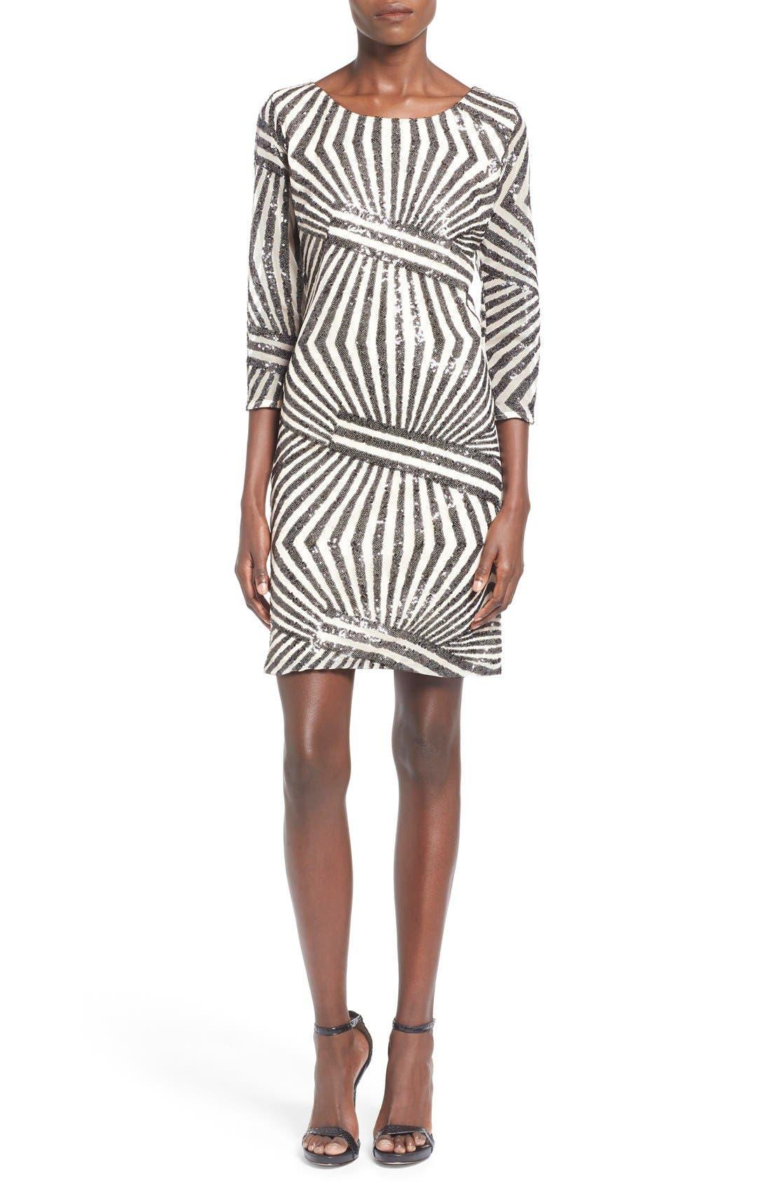 Main Image - Sequin Hearts Sequin Stripe Body-Con Dress