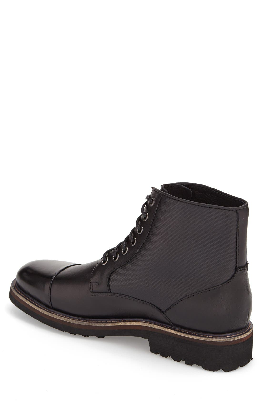 'Northstar' Cap Toe Boot,                             Alternate thumbnail 2, color,                             Black Leather