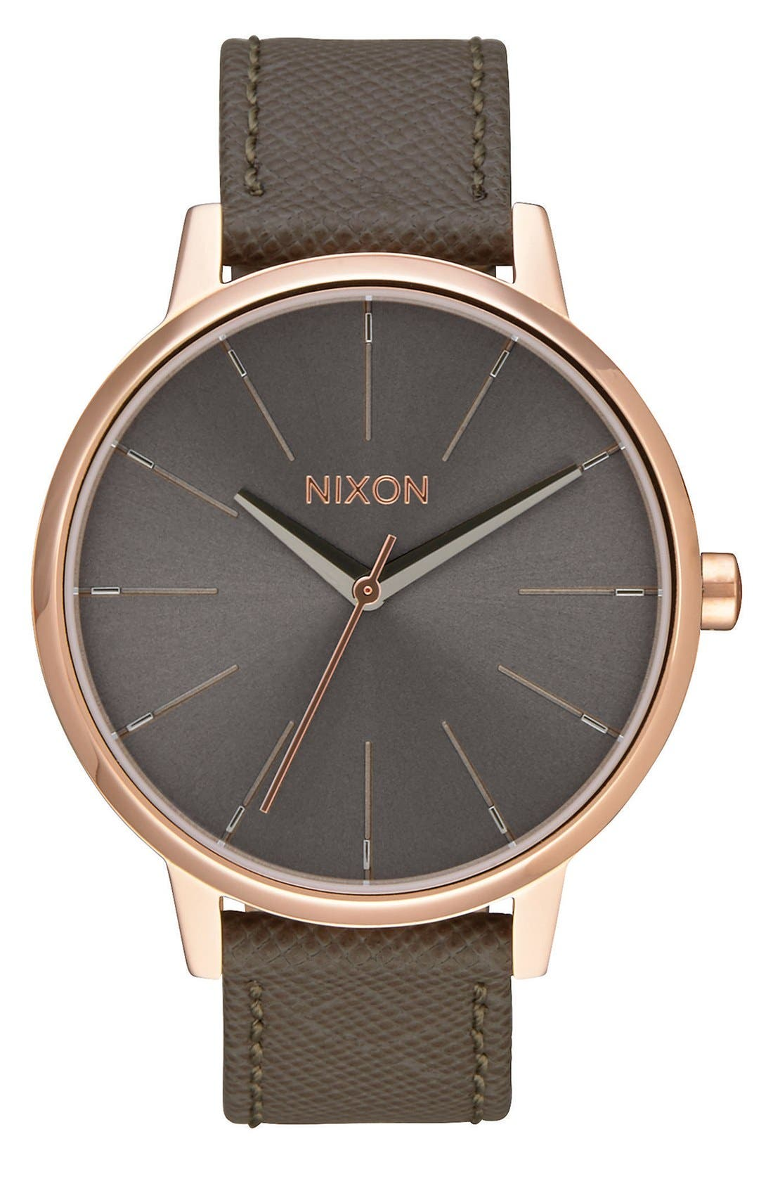 'Kensington' Leather Strap Watch, 37mm,                             Main thumbnail 1, color,                             Brown/ Rose Gold/ Taupe
