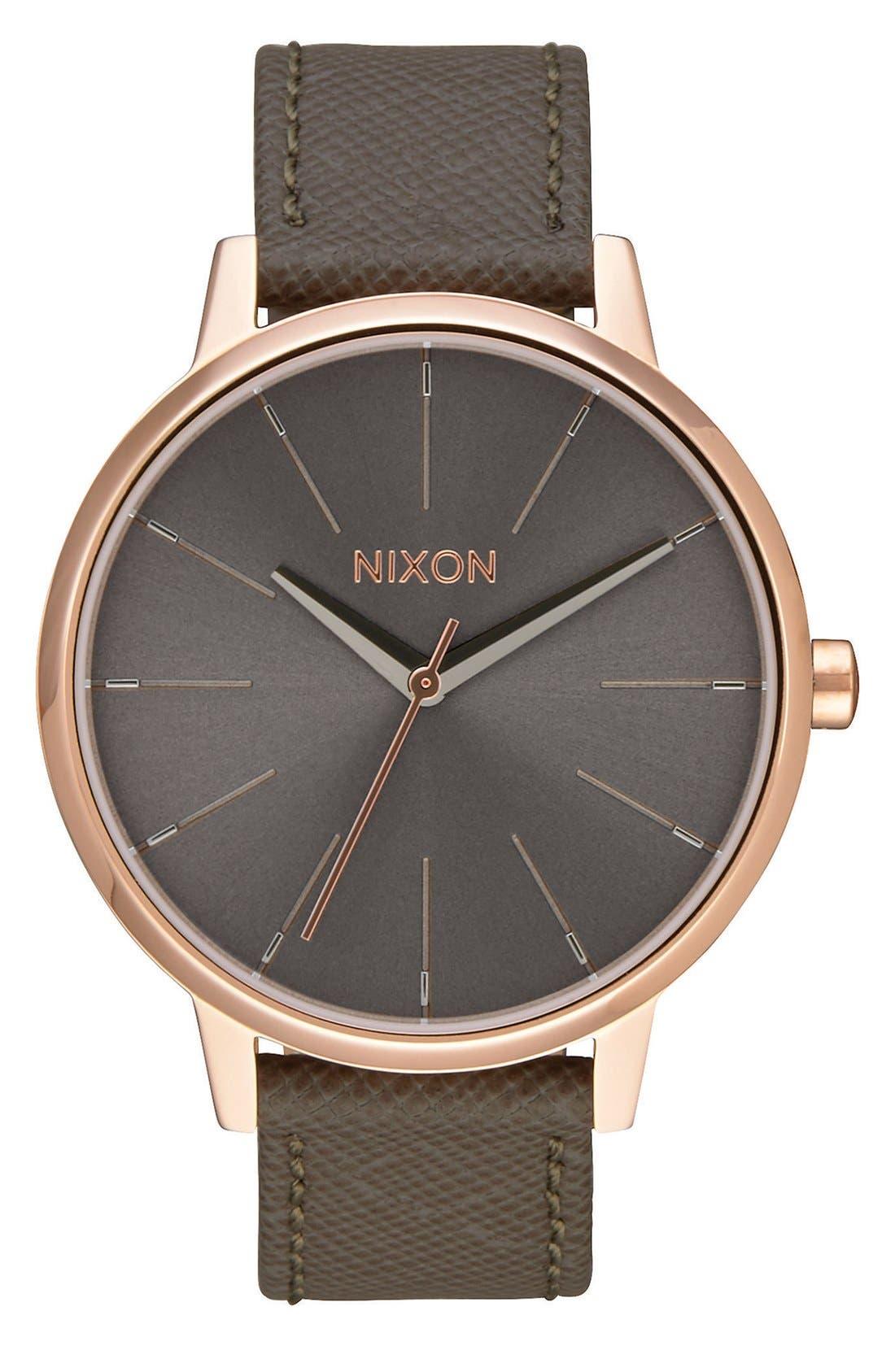 Nixon 'Kensington' Leather Strap Watch, 37mm