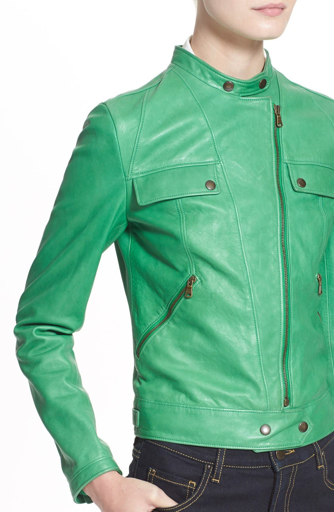 Alternate Image 5  - Tomas Maier Nappa Leather Moto Jacket