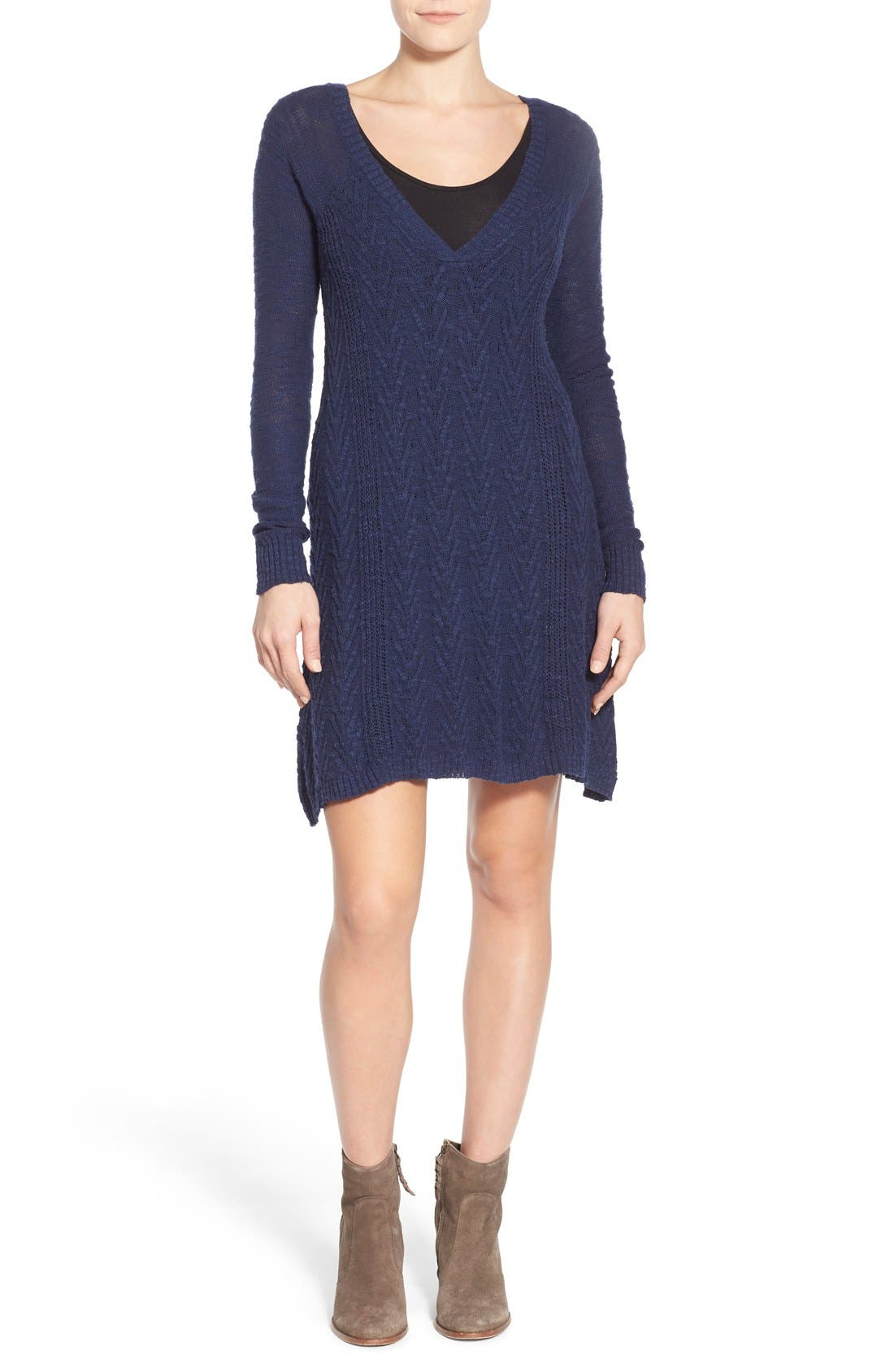 Main Image - LAmade V-Neck Cable Knit Sweater Dress