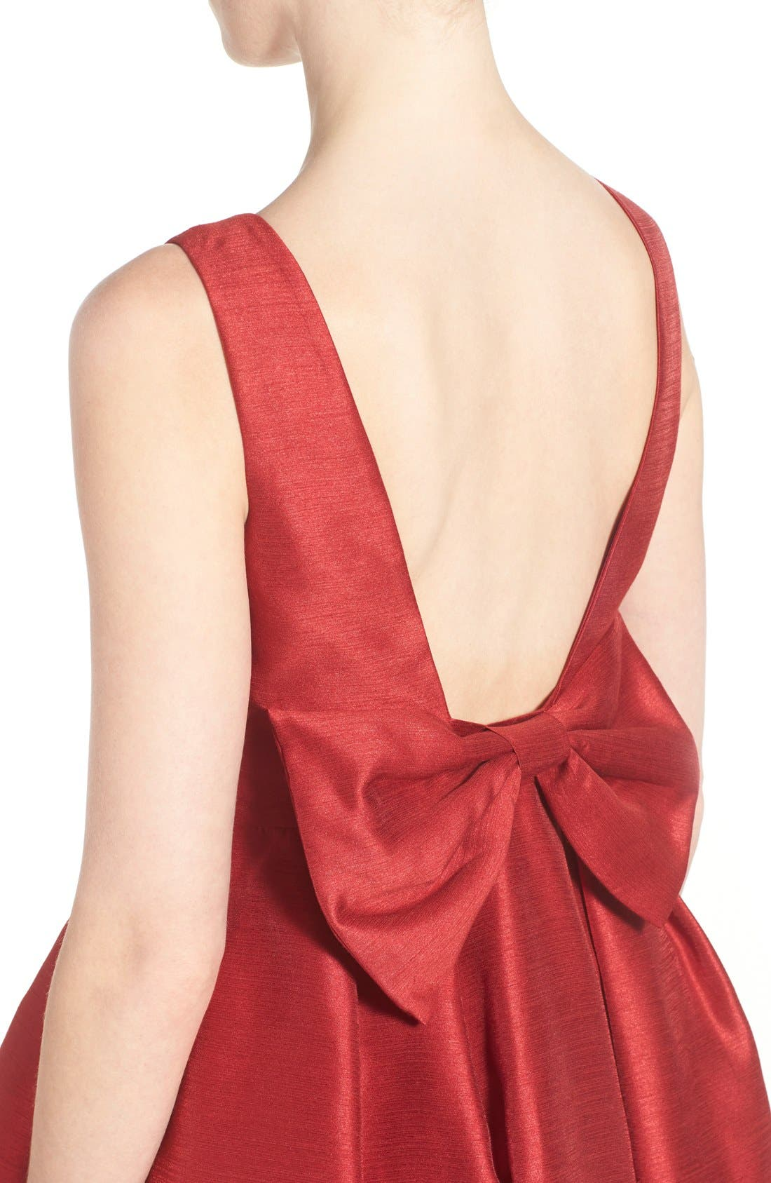 Bow Back Fit & Flare Dress,                             Alternate thumbnail 5, color,                             Dark Red