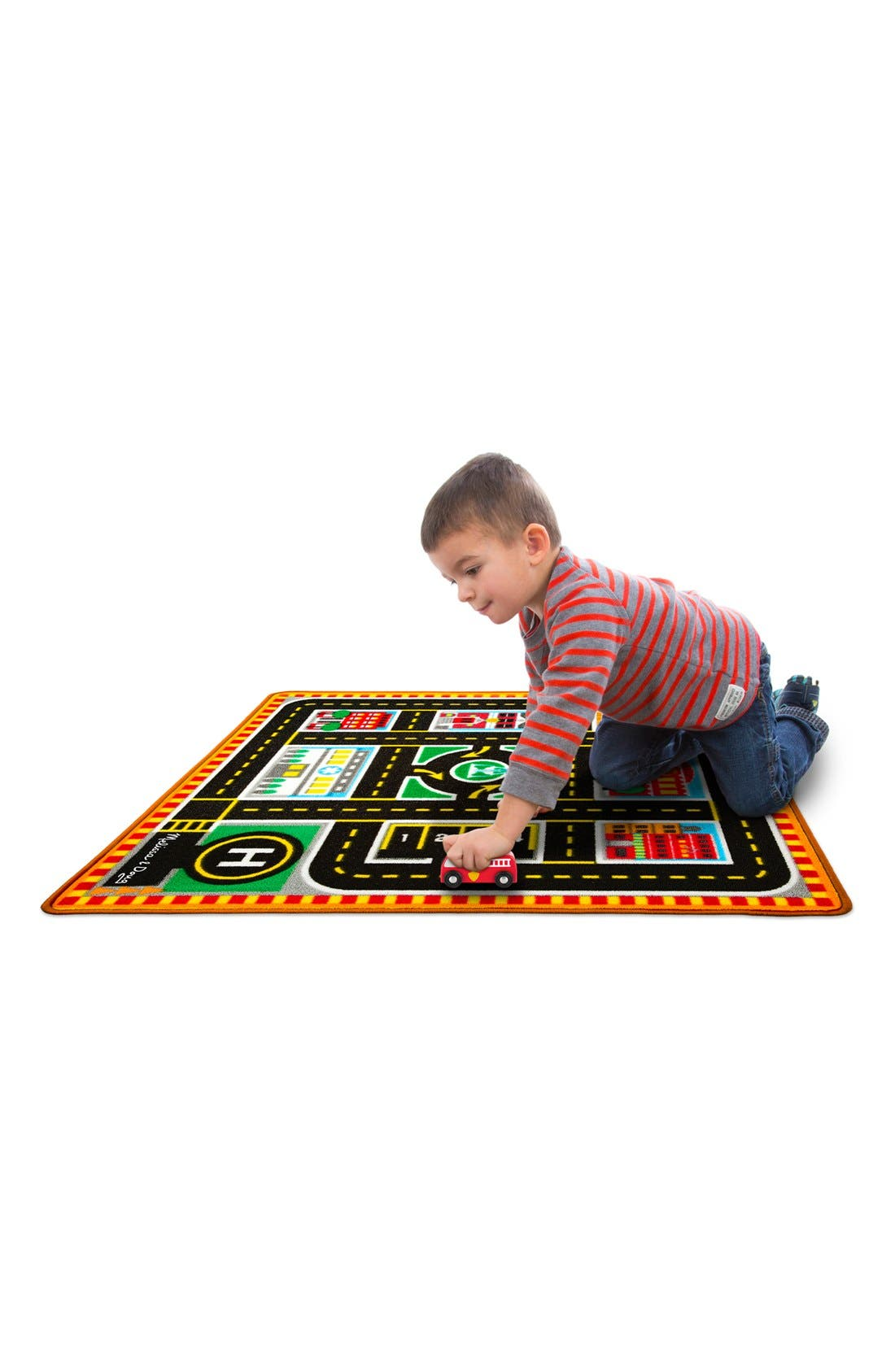 'Round The City' Play Rug & Rescue Vehicles,                         Main,                         color, Multi