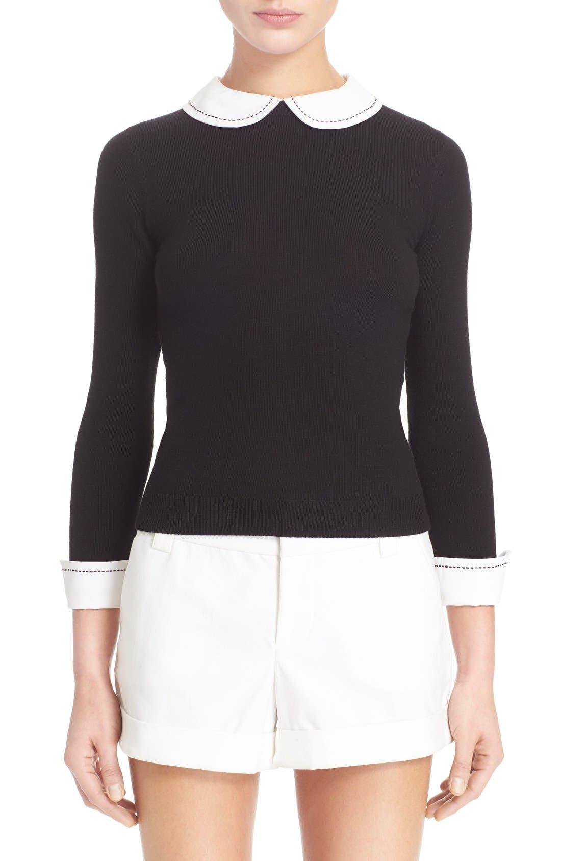 Alternate Image 1 Selected - Alice + Olivia 'Porla' Embellished Collar Wool Pullover