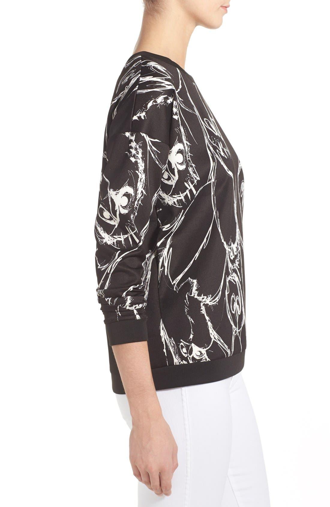 Alternate Image 3  - kensie Sketched Bird Print Sweatshirt