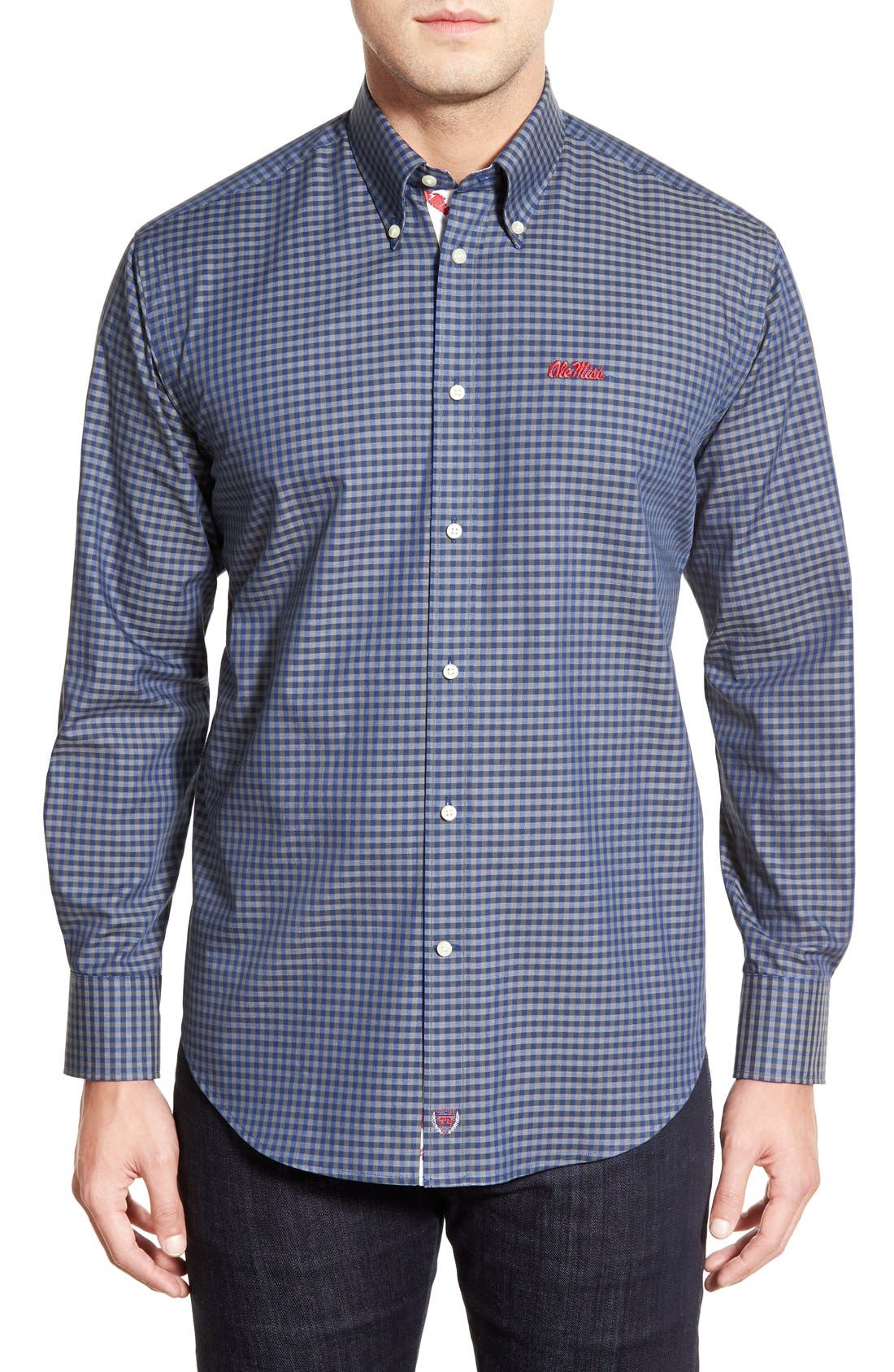 Thomas Dean 'Ole Miss Rebels' Regular Fit Long Sleeve Gingham Sport Shirt