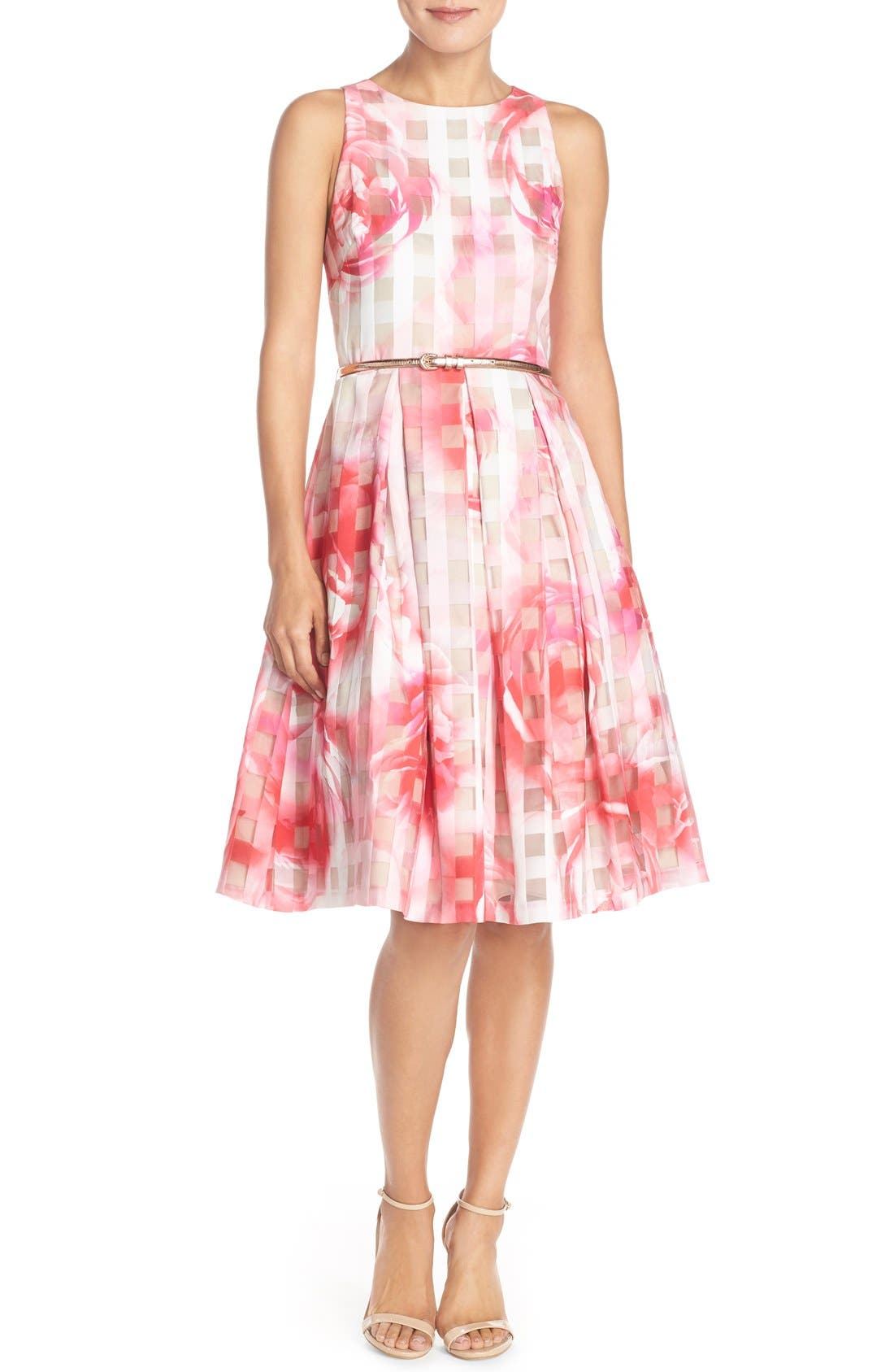 Floral Organza Fit & Flare Dress,                             Alternate thumbnail 4, color,                             Pink Print