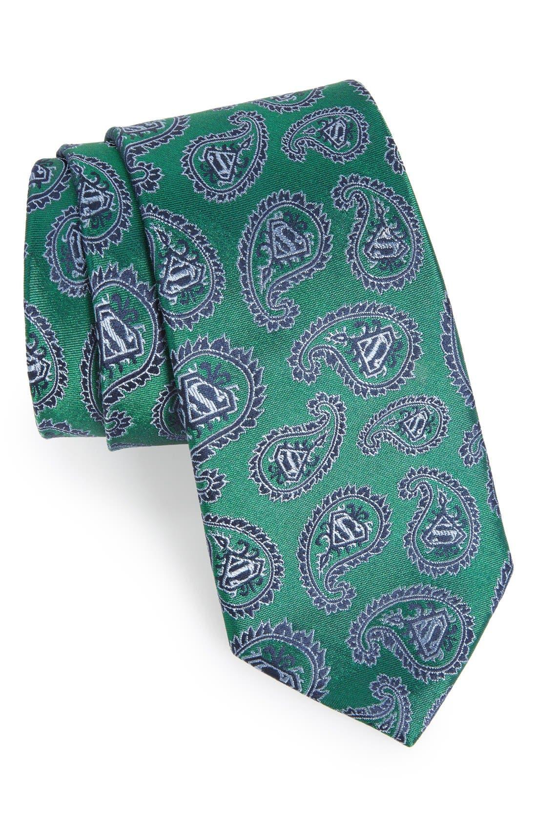 'Superman' Paisley Silk Tie,                         Main,                         color, Green