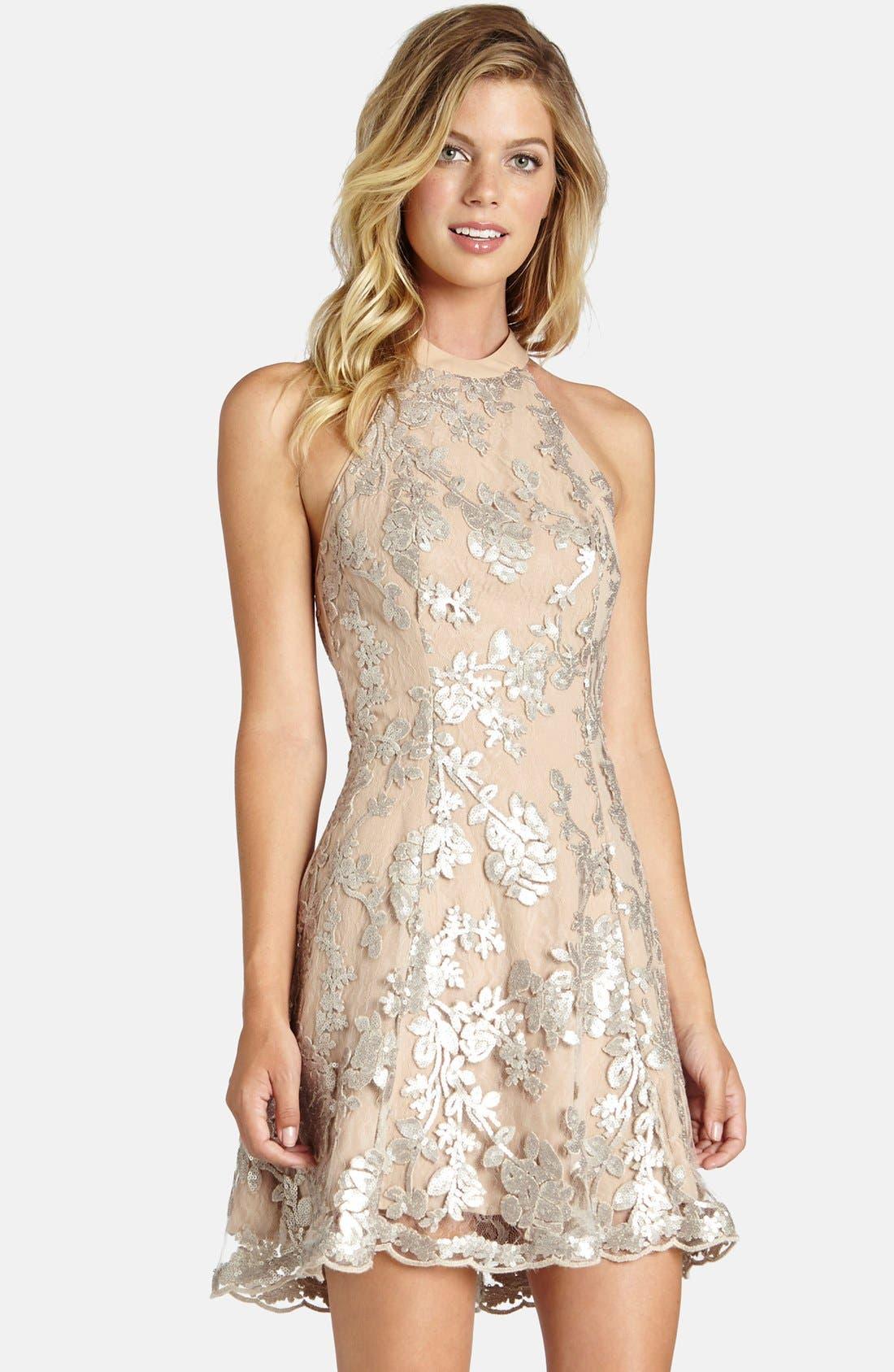 Abbie Minidress,                         Main,                         color, Silver/ Nude