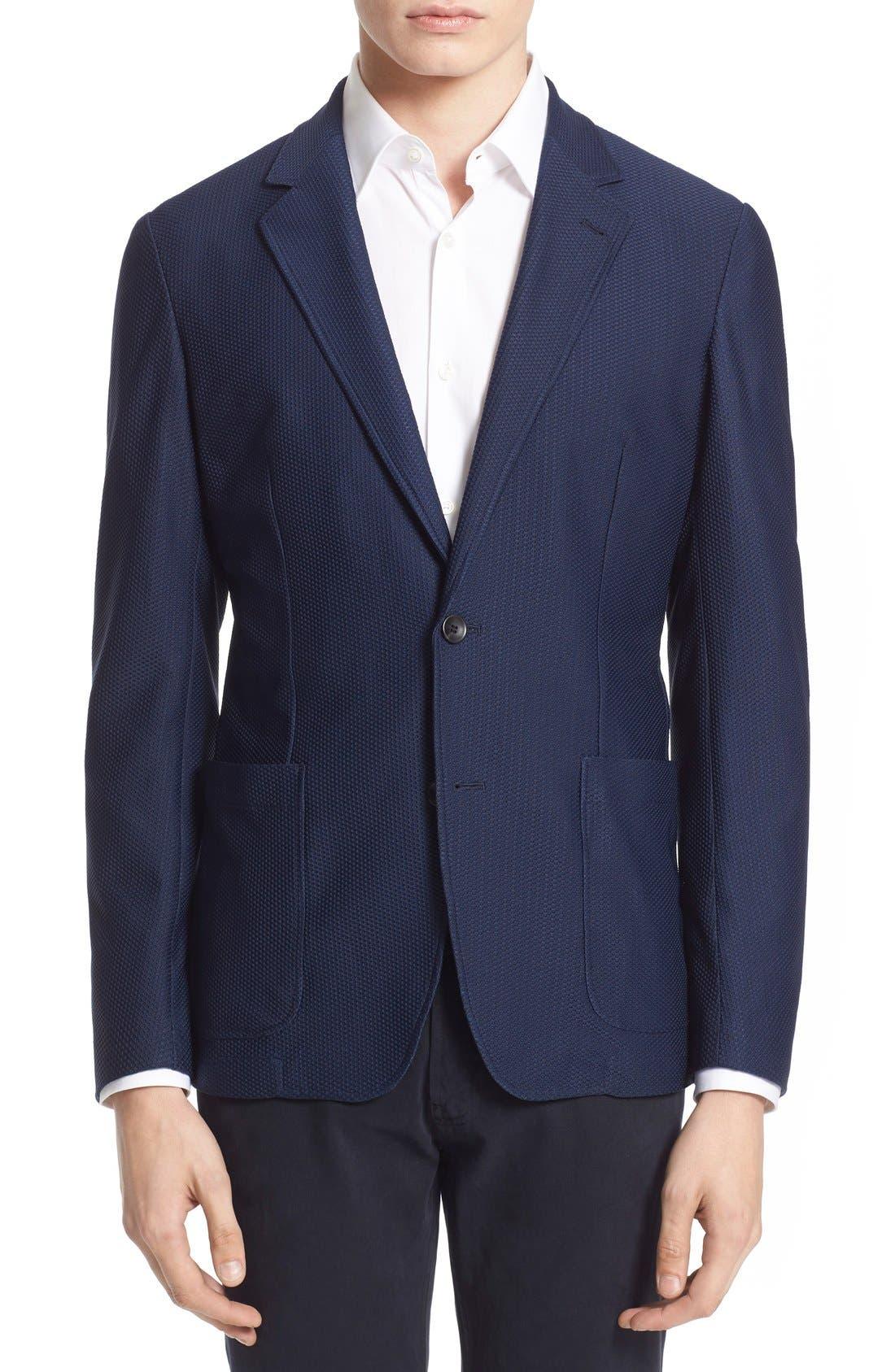 ARMANI COLLEZIONI Trim Fit Textured Stretch Knit Sport Coat