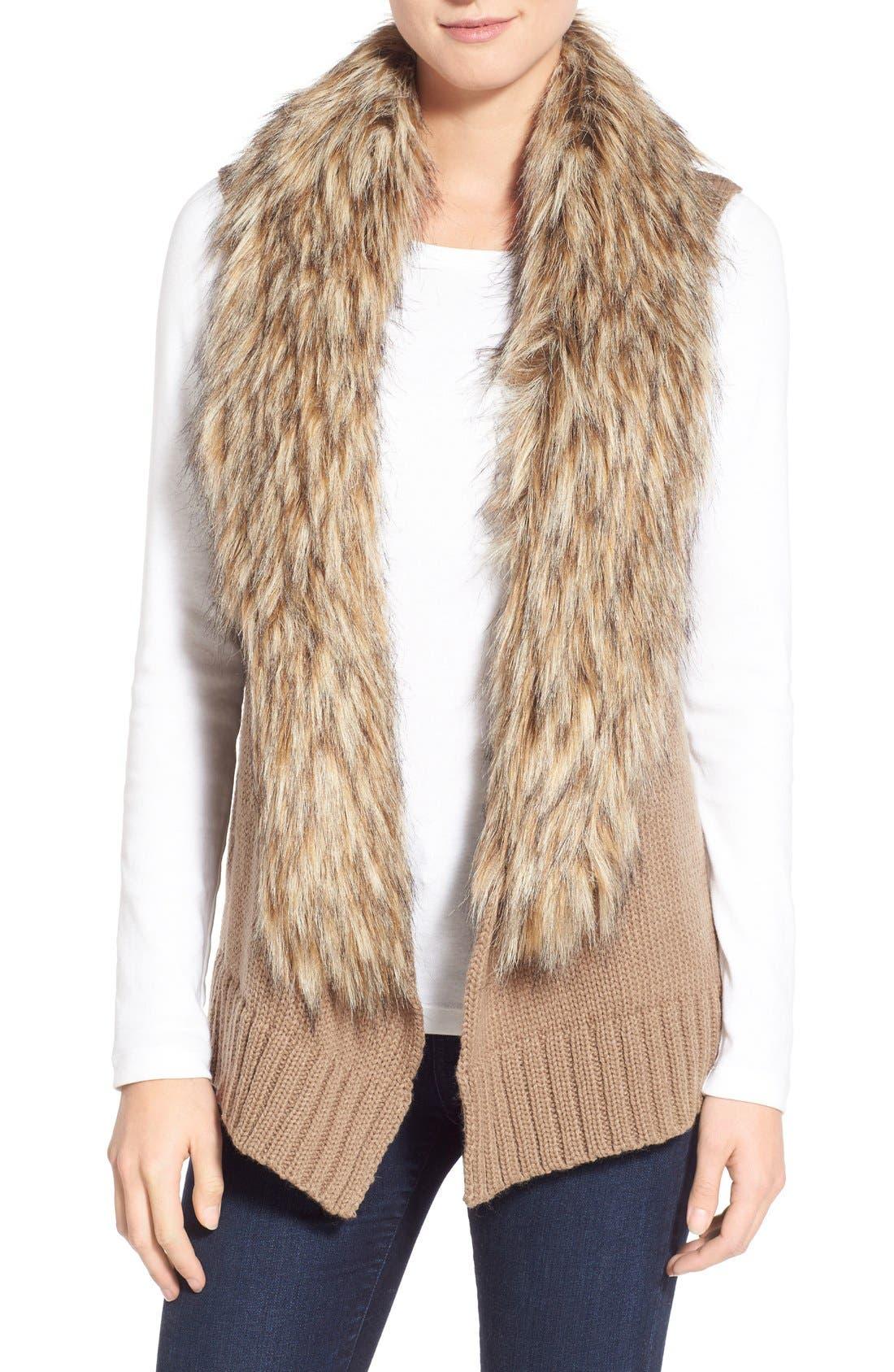 Main Image - BB Dakota 'Sadi' Faux Fur Trim Knit Vest
