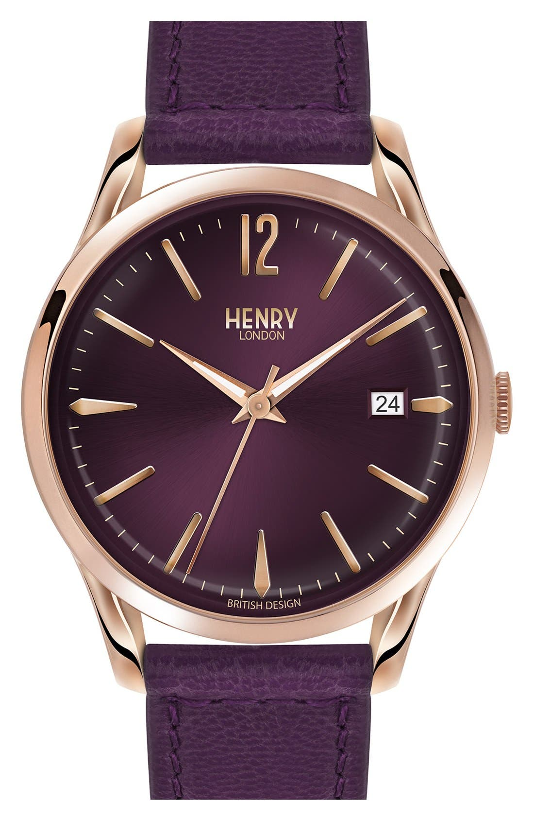 'Hampstead' Leather Strap Watch, 39mm,                             Main thumbnail 1, color,                             Berry/ Berry