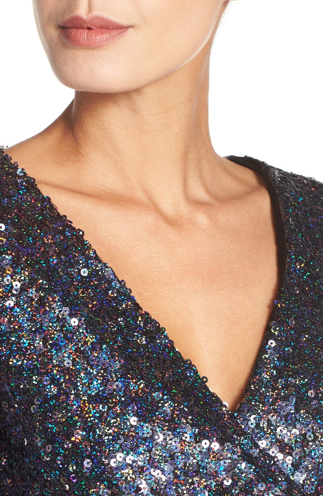Alternate Image 4  - French Connection Sequin Mesh Faux Wrap Dress